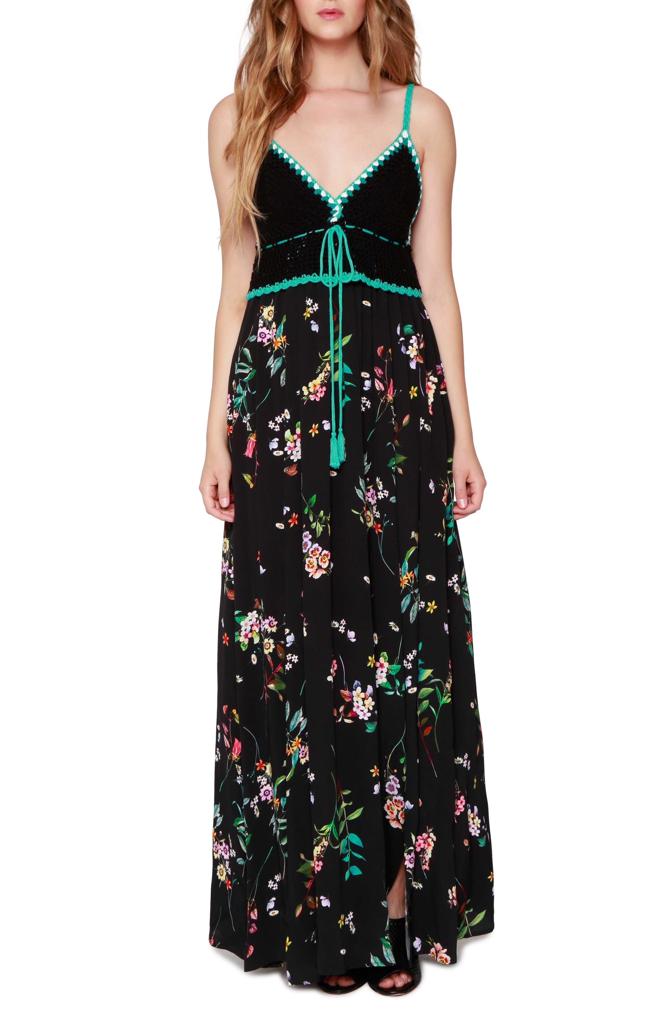 Crochet Maxi Dress,                             Main thumbnail 1, color,                             001