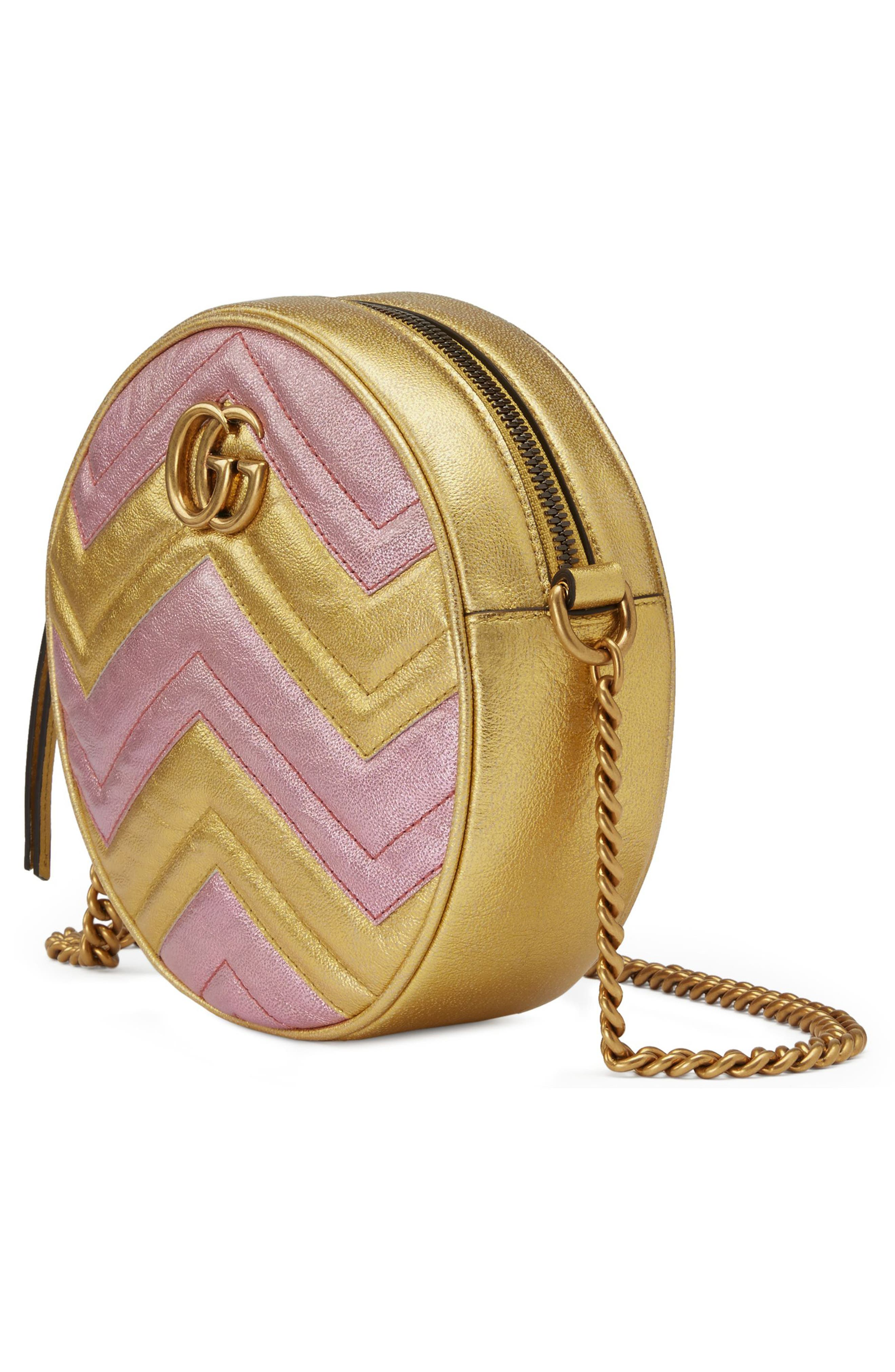 Marmont 2.0 Mini Leather Circle Crossbody Bag,                             Alternate thumbnail 4, color,                             ORO/ ROSA