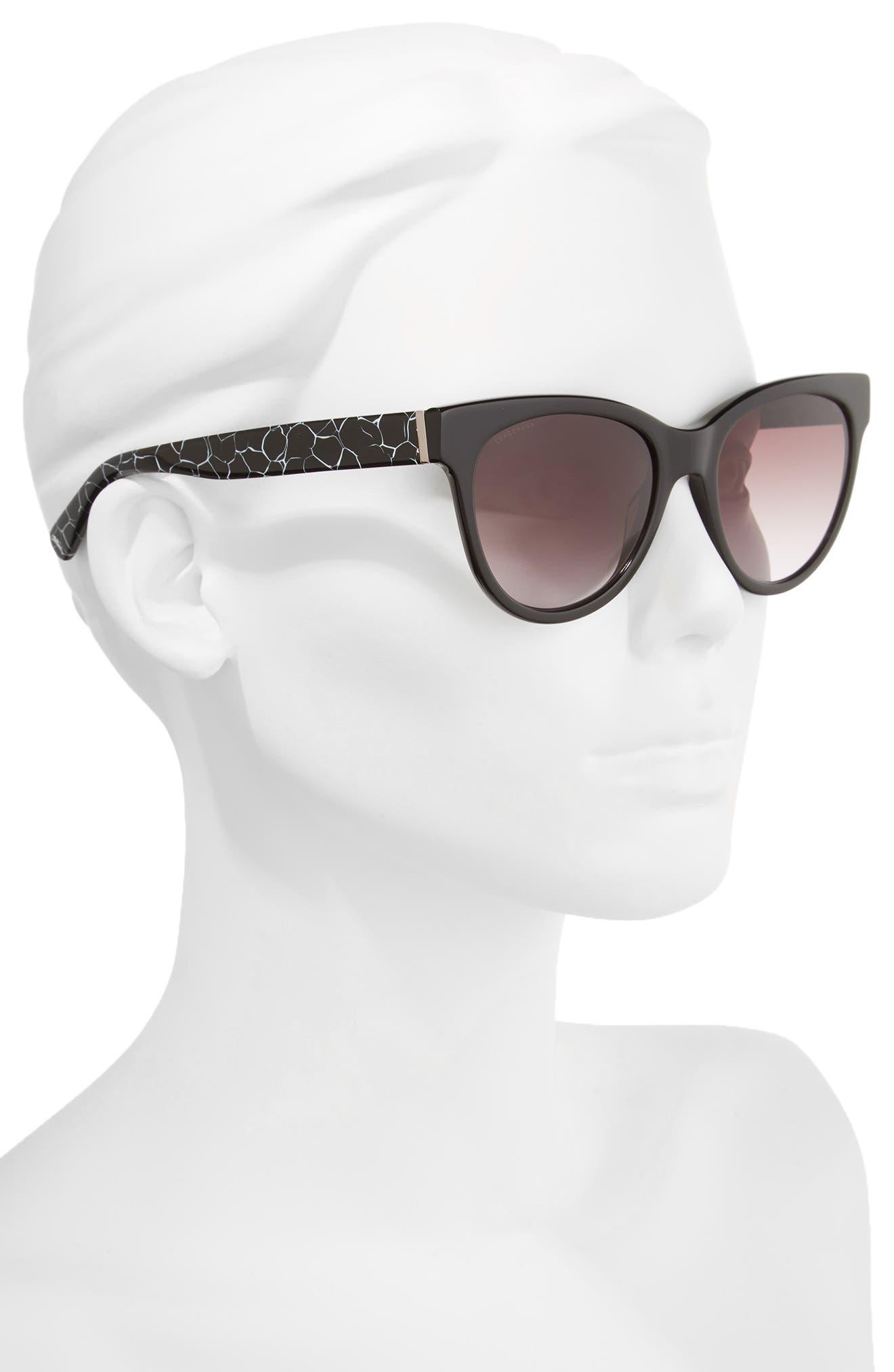 54mm Gradient Lens Cat Eye Sunglasses,                             Alternate thumbnail 2, color,                             MARBLE BLACK