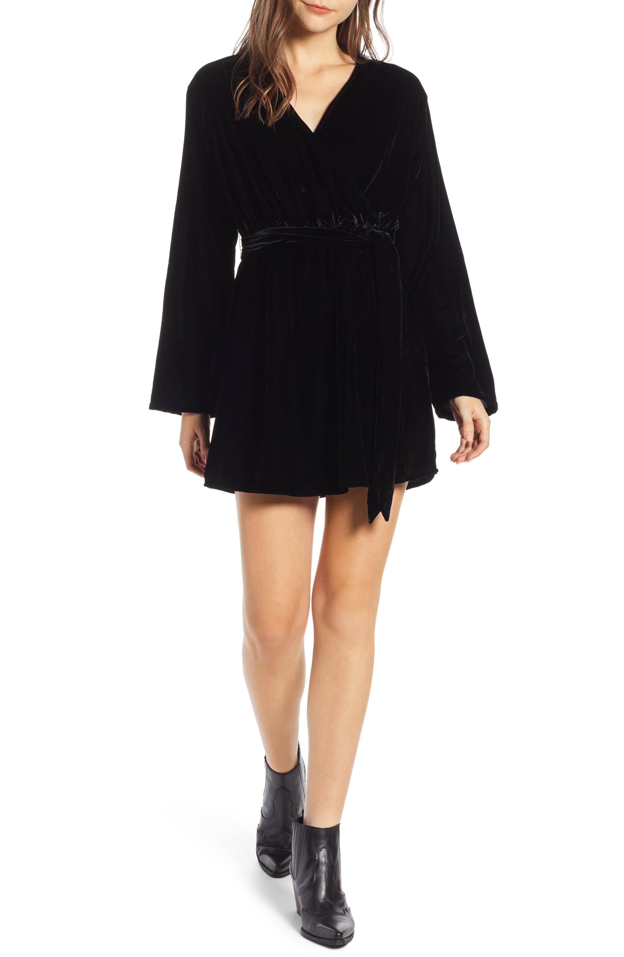 Velvet Faux Wrap Minidress,                         Main,                         color, BLACK