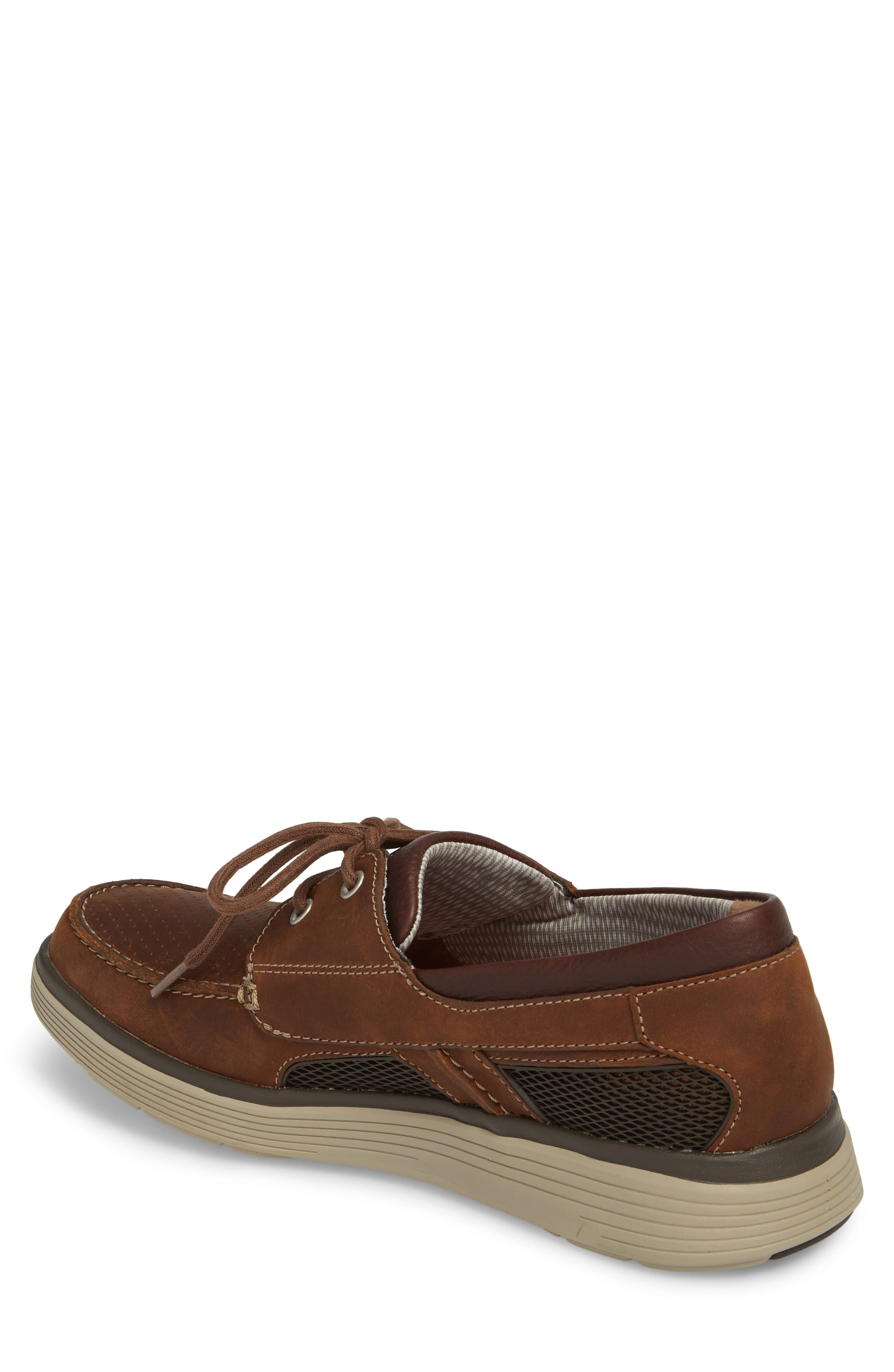 Clarks<sup>®</sup> Unabobe Step Boat Shoe,                             Alternate thumbnail 2, color,                             DARK TAN LEATHER
