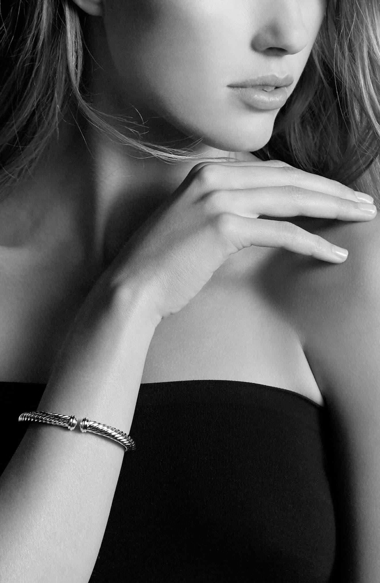 Cable Spira Bracelet with Diamonds, 7mm,                             Alternate thumbnail 2, color,                             DIAMOND