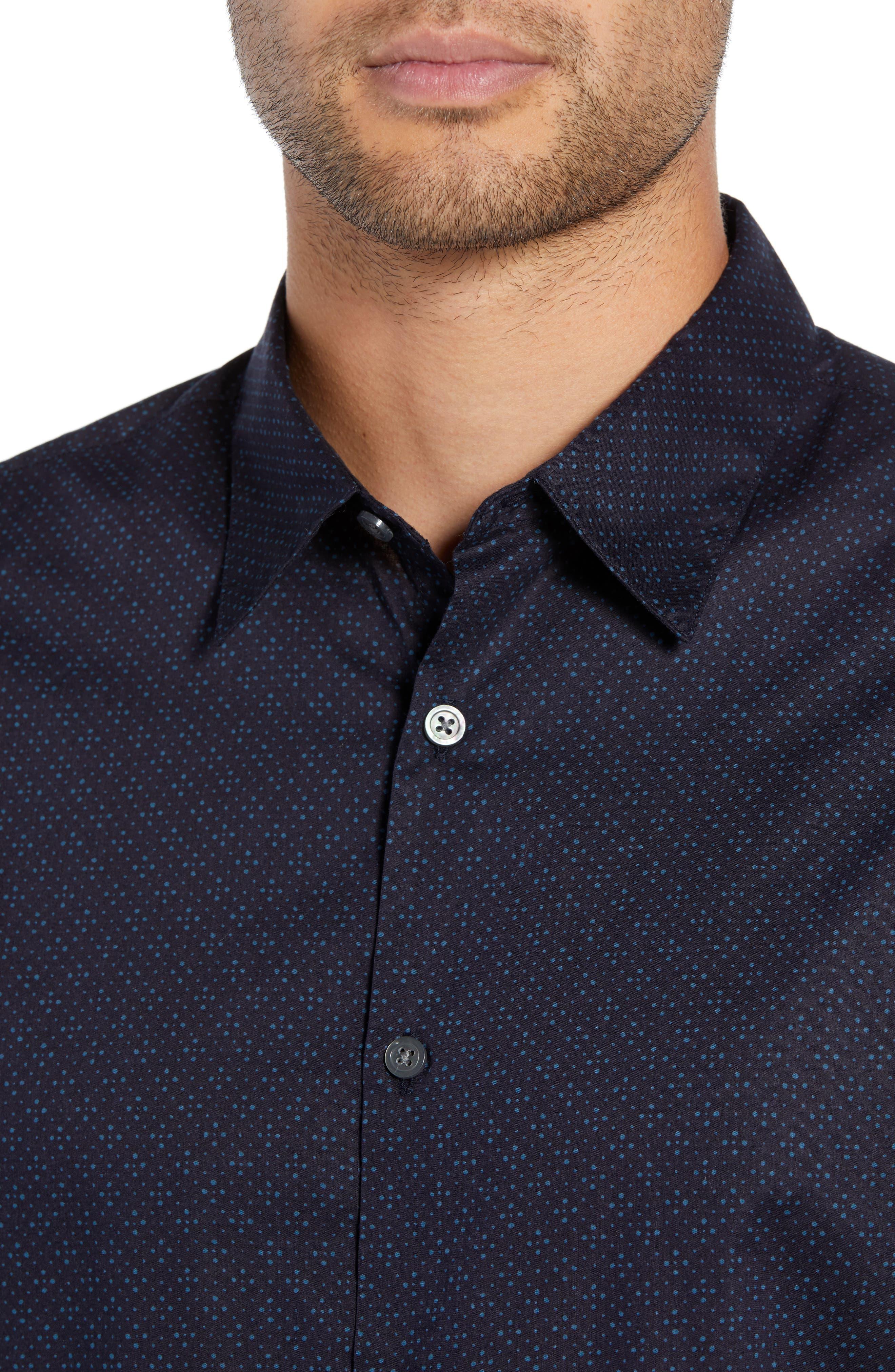 Diamond Print Sport Shirt,                             Alternate thumbnail 2, color,                             RAIN BLUE