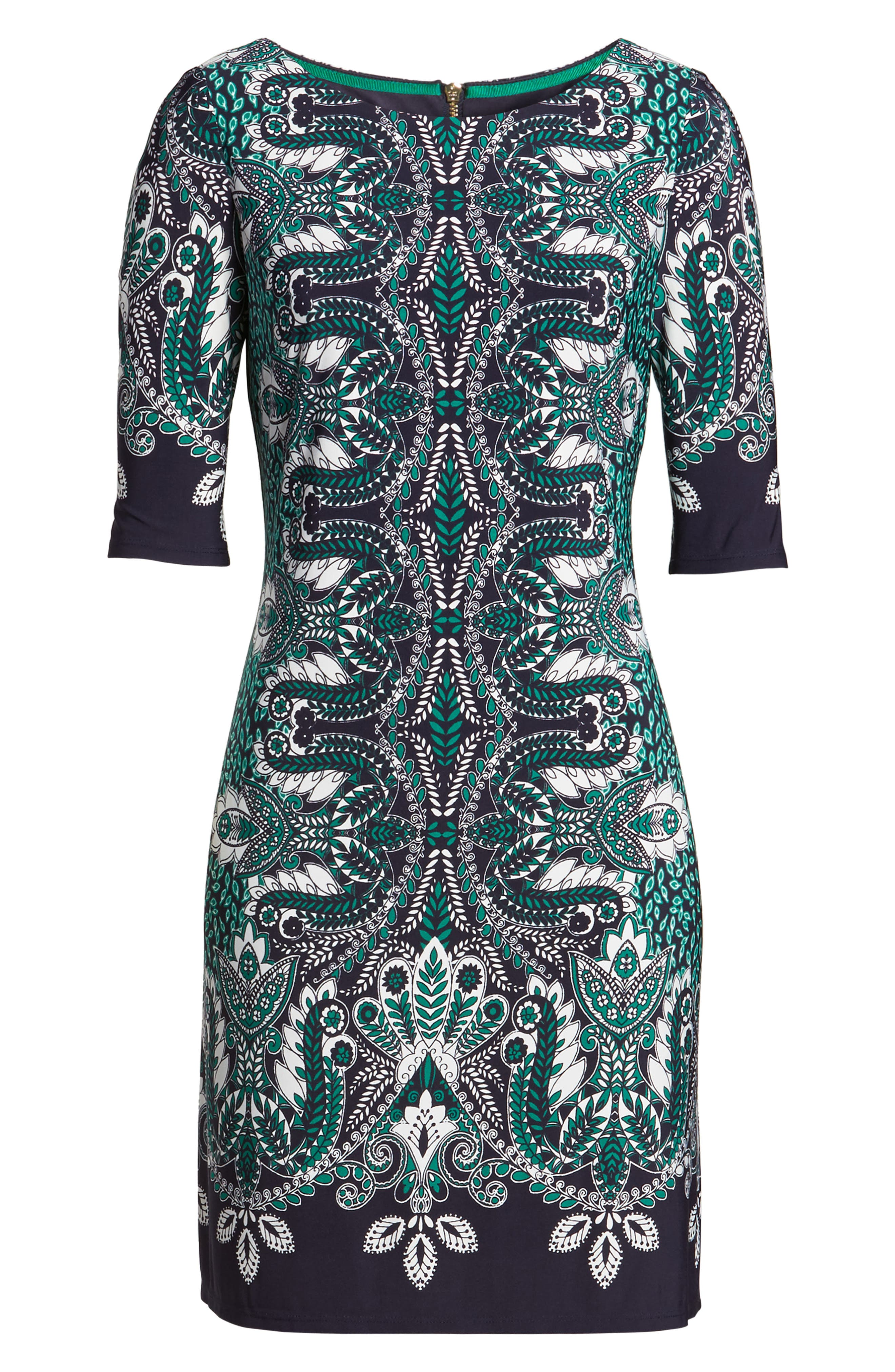 Print Elbow Sleeve Shift Dress,                             Alternate thumbnail 6, color,                             404
