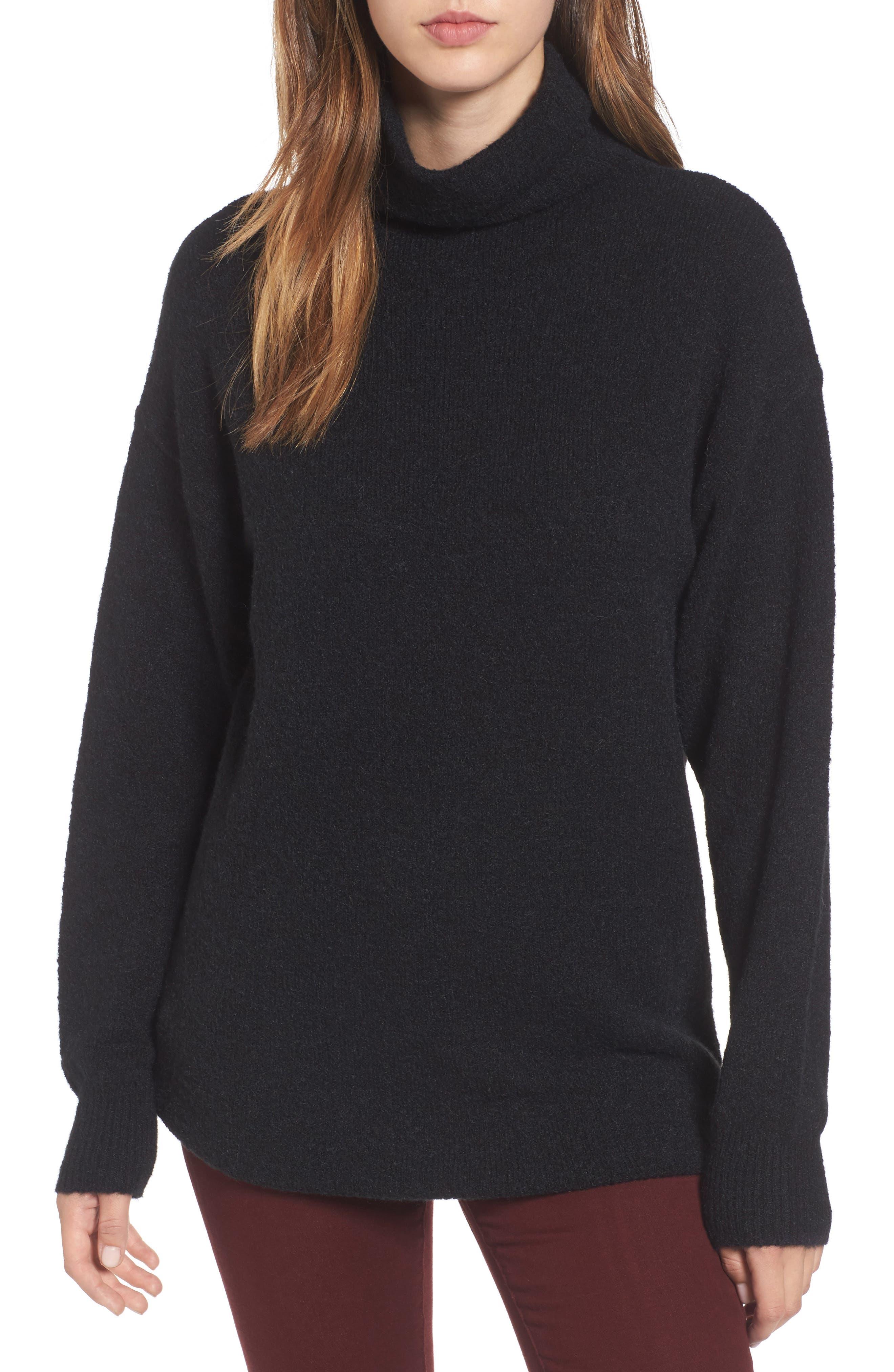 Bouclé Turtleneck Tunic Sweater,                             Main thumbnail 1, color,                             001