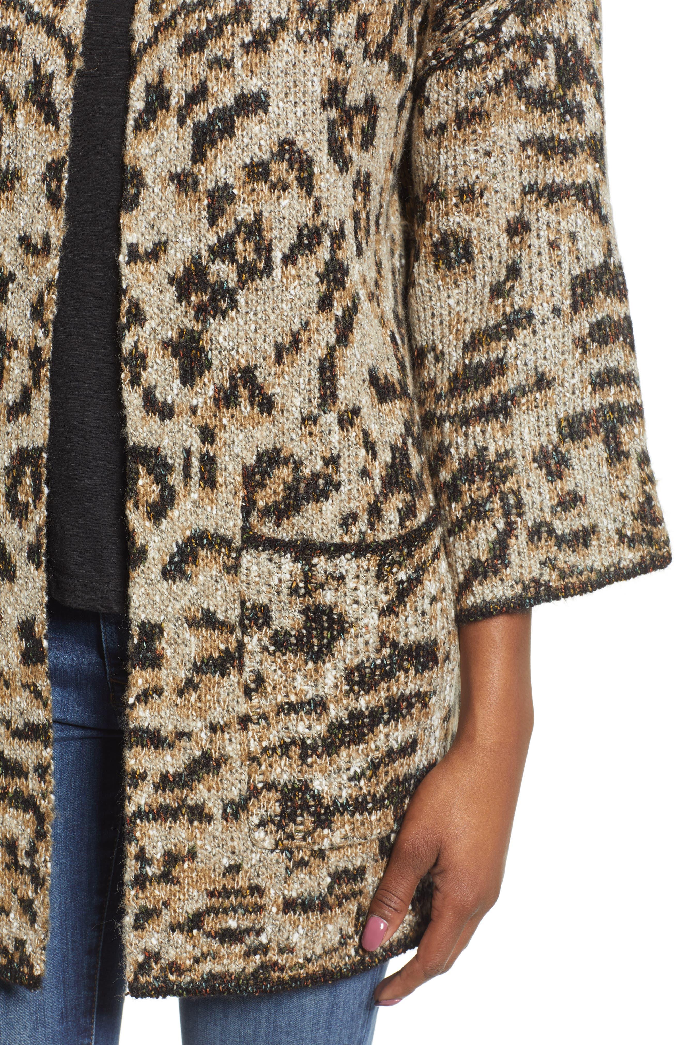 WIT & WISDOM,                             Reversible Tiger Jacquard Sweater Jacket,                             Alternate thumbnail 5, color,                             TAUPE