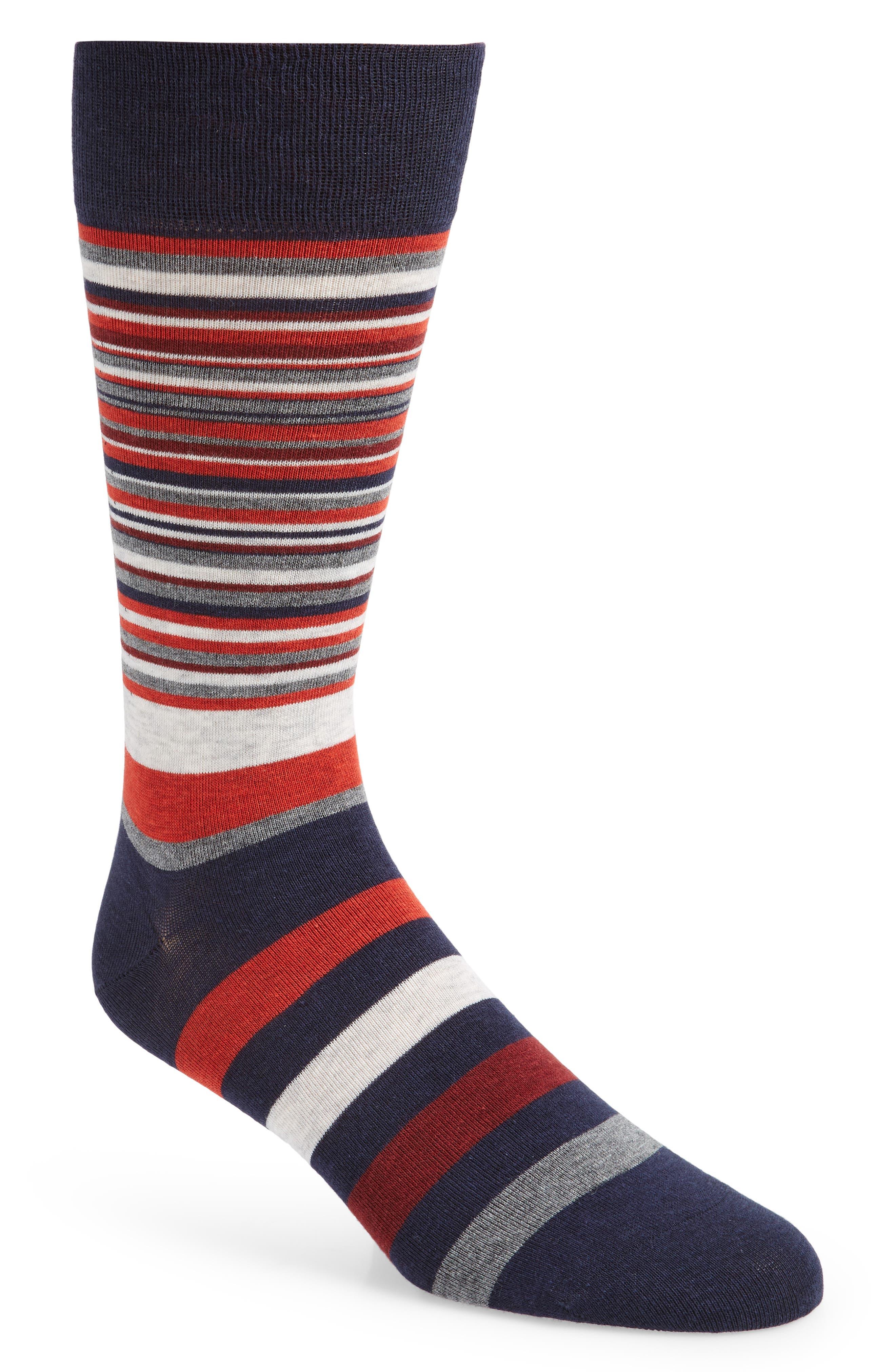Town Stripe Crew Socks,                             Main thumbnail 1, color,                             RED