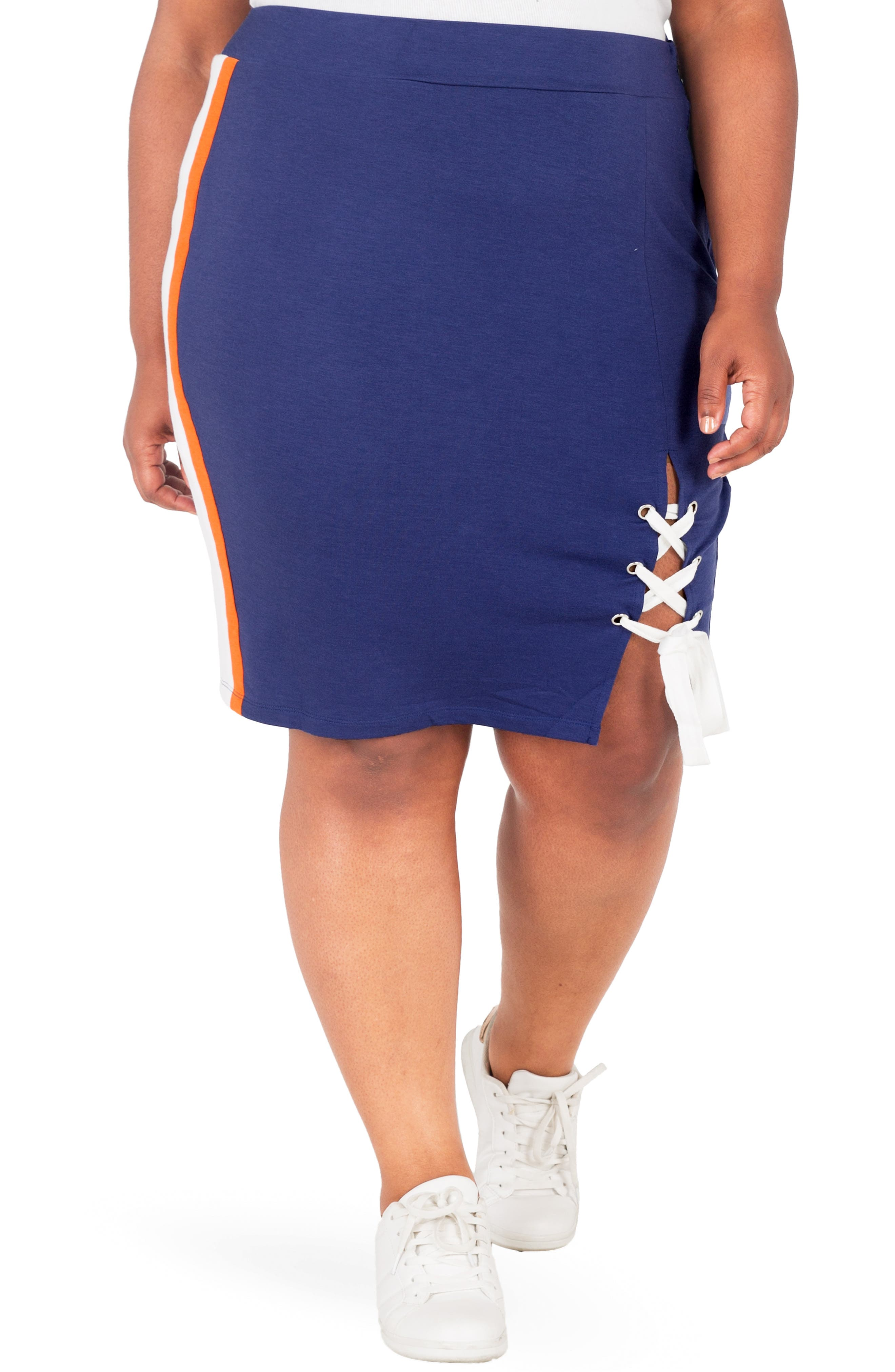 Wilma Lace-Up Pencil Skirt,                             Main thumbnail 1, color,                             NAVY