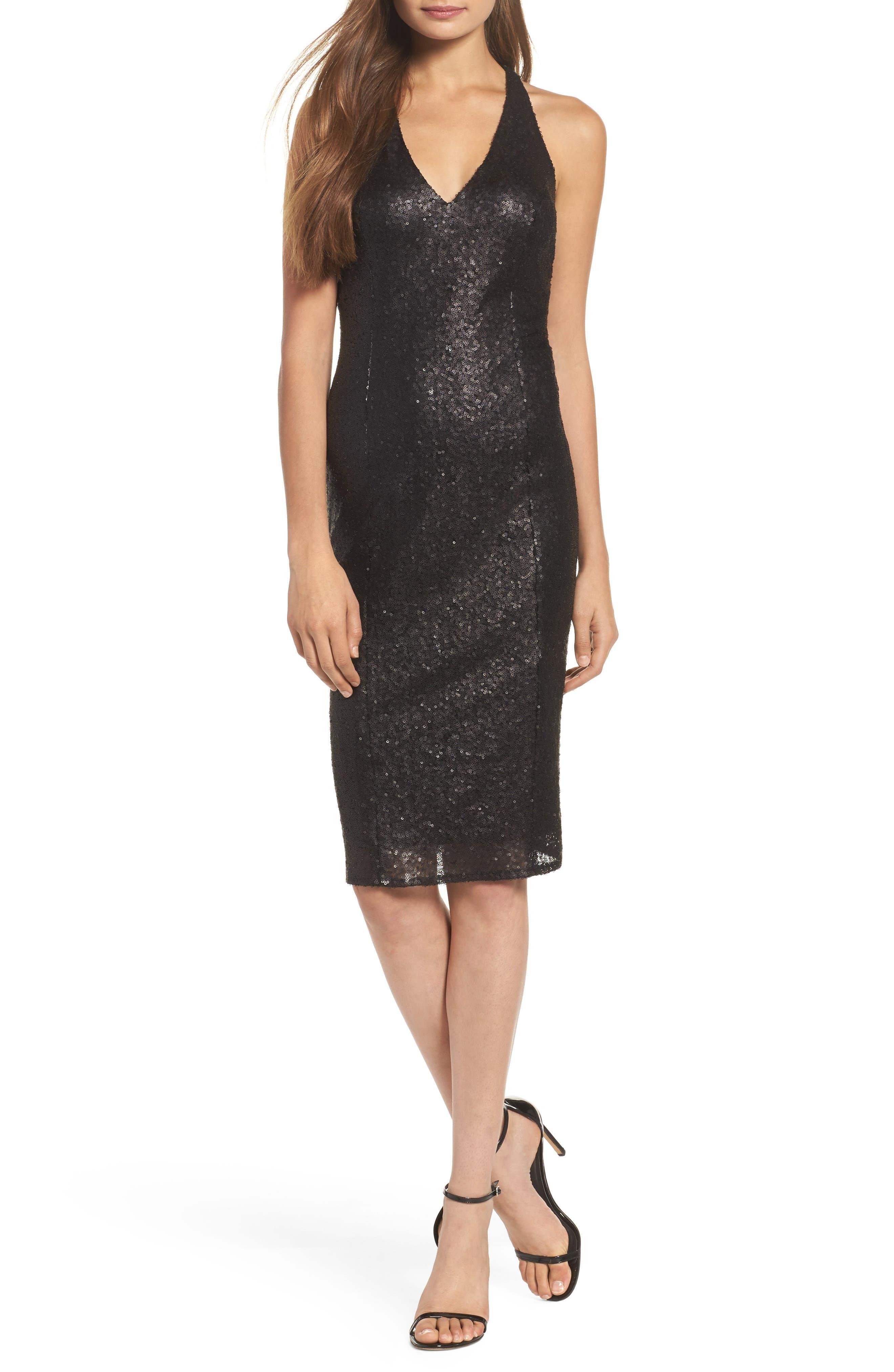 Alo Sequin Halter Dress,                             Main thumbnail 1, color,                             001