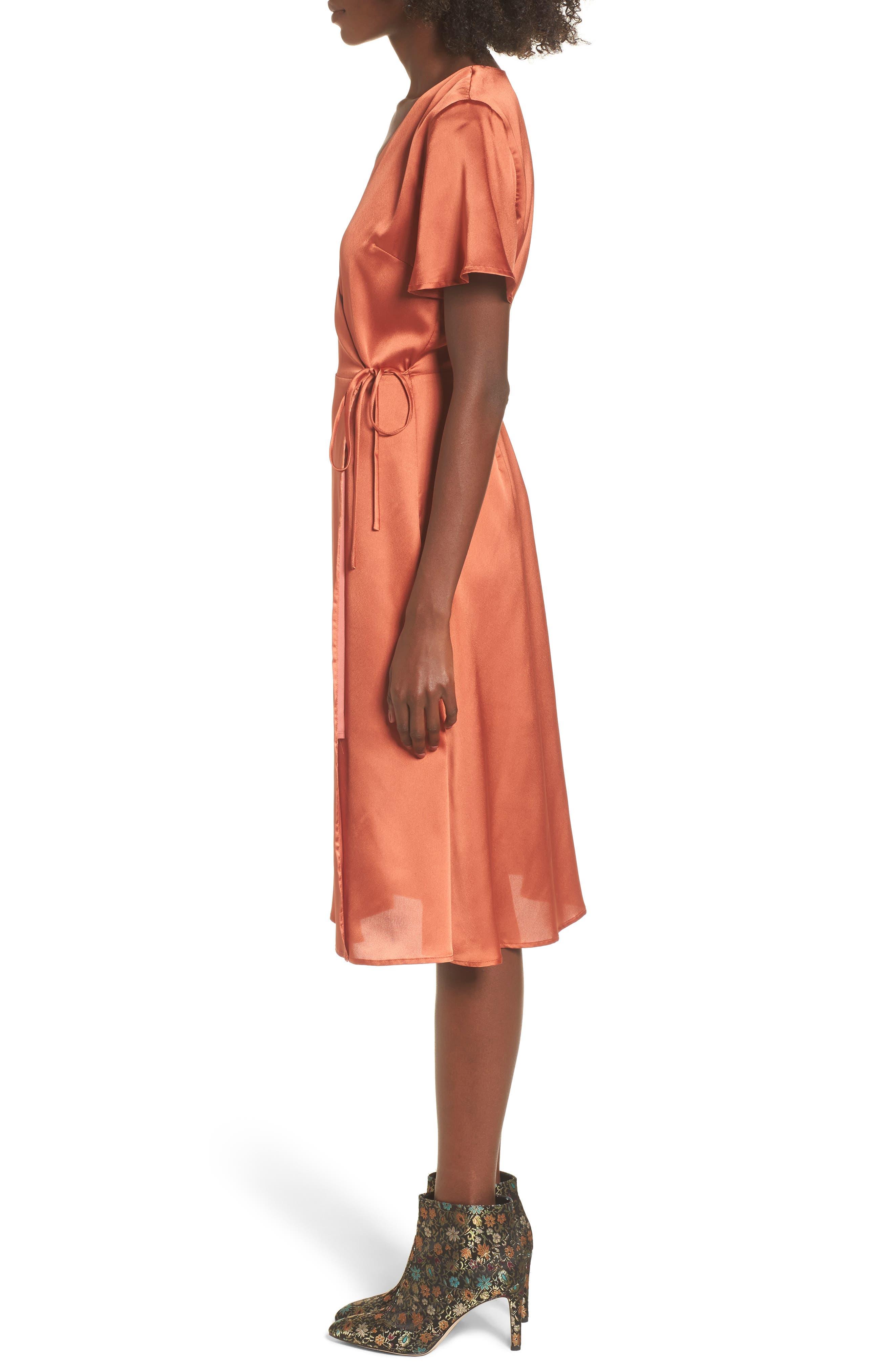 Satin Wrap Dress,                             Alternate thumbnail 3, color,                             201