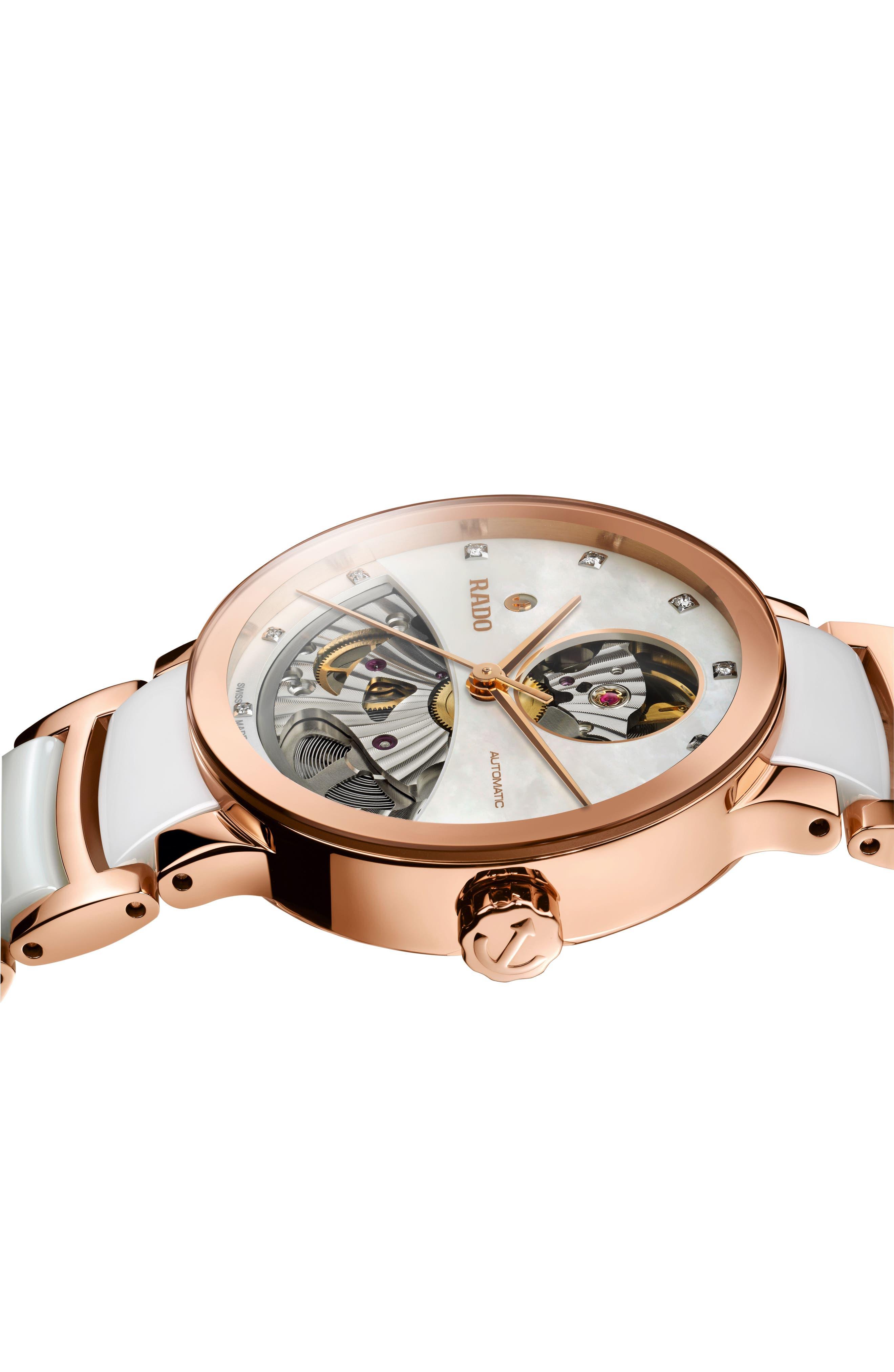 RADO,                             Centrix Open Heart Automatic Diamond Ceramic Bracelet Watch, 33mm,                             Alternate thumbnail 2, color,                             WHITE/ MOP/ ROSE GOLD