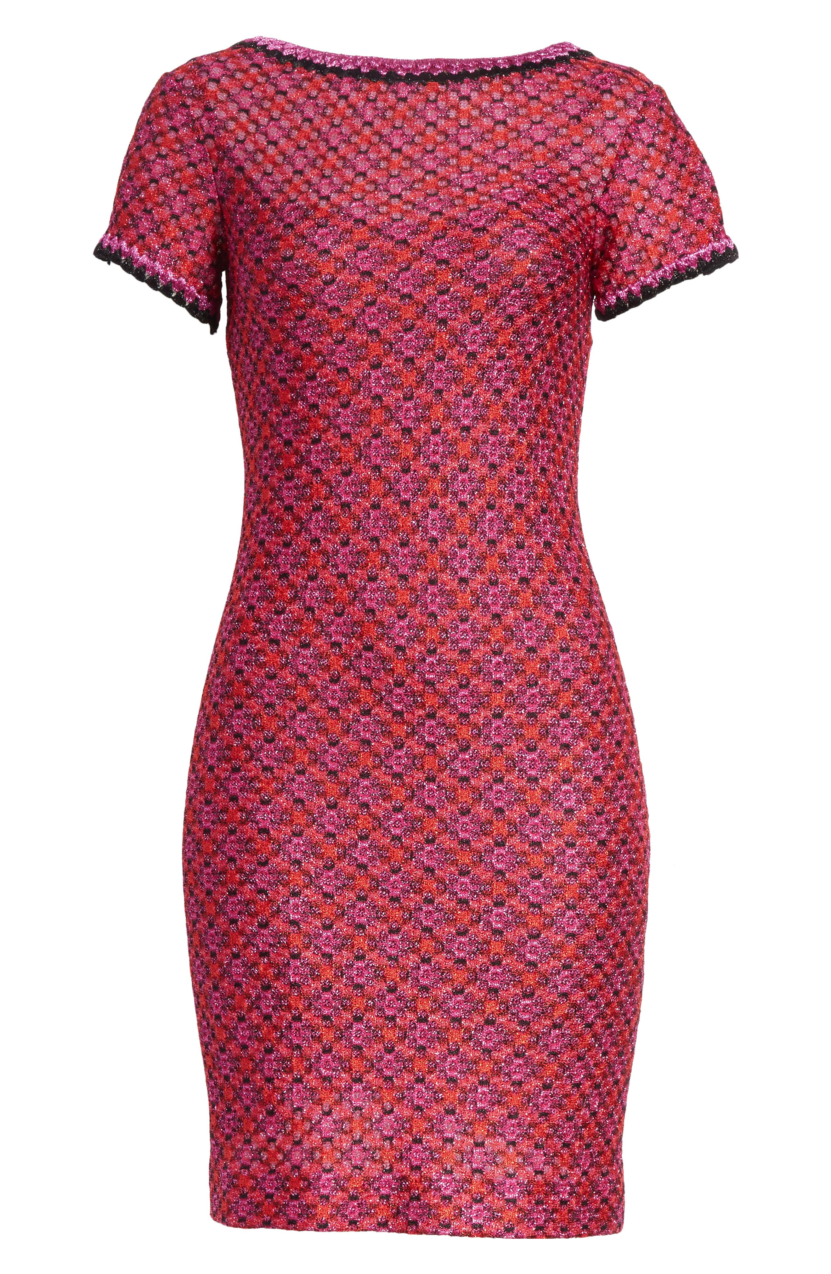 Metallic Zigzag Knit Dress,                             Alternate thumbnail 6, color,                             650