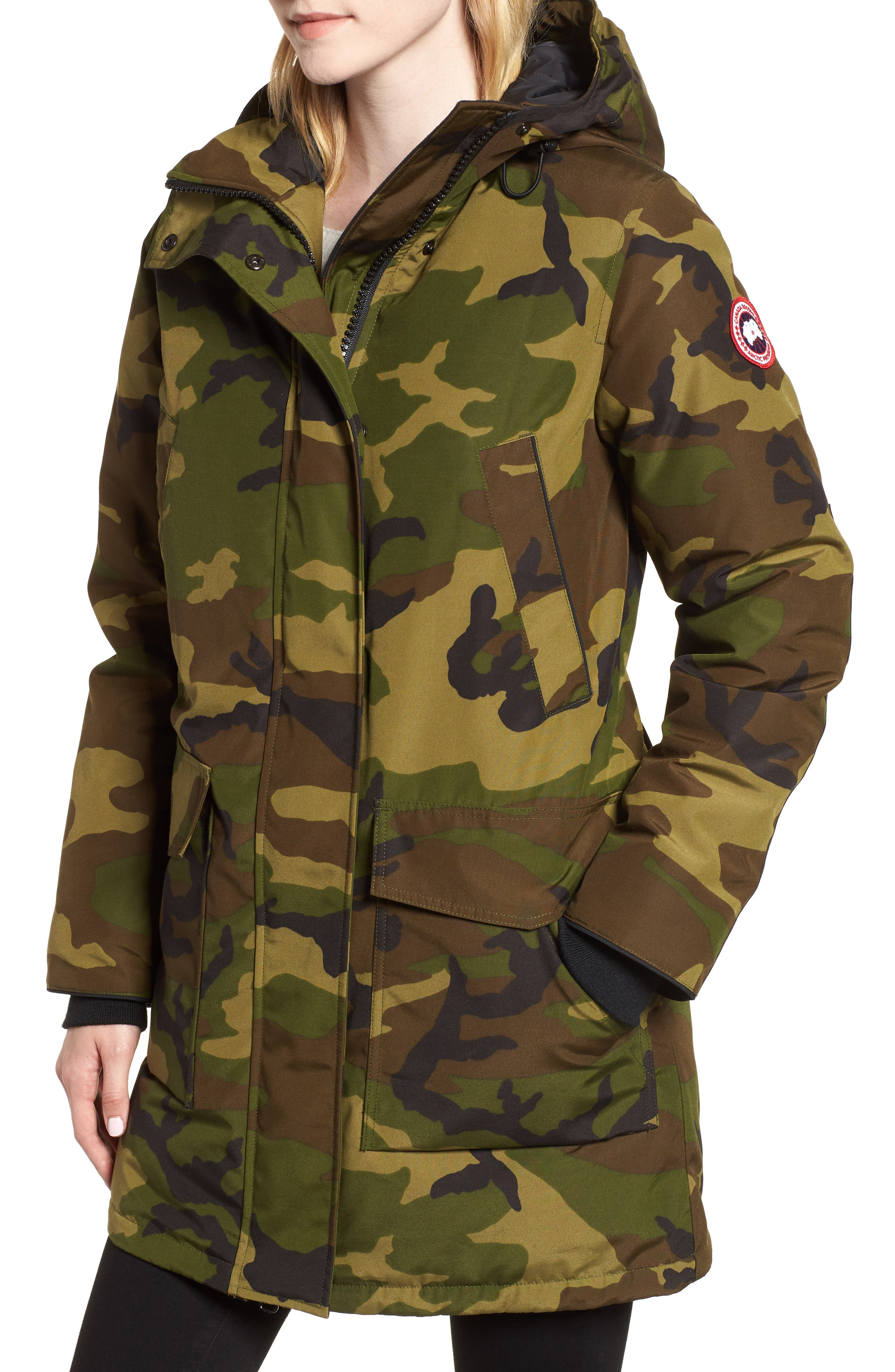Canmore 625 Fill Power Down Parka,                             Alternate thumbnail 4, color,                             CLASSIC CAMO