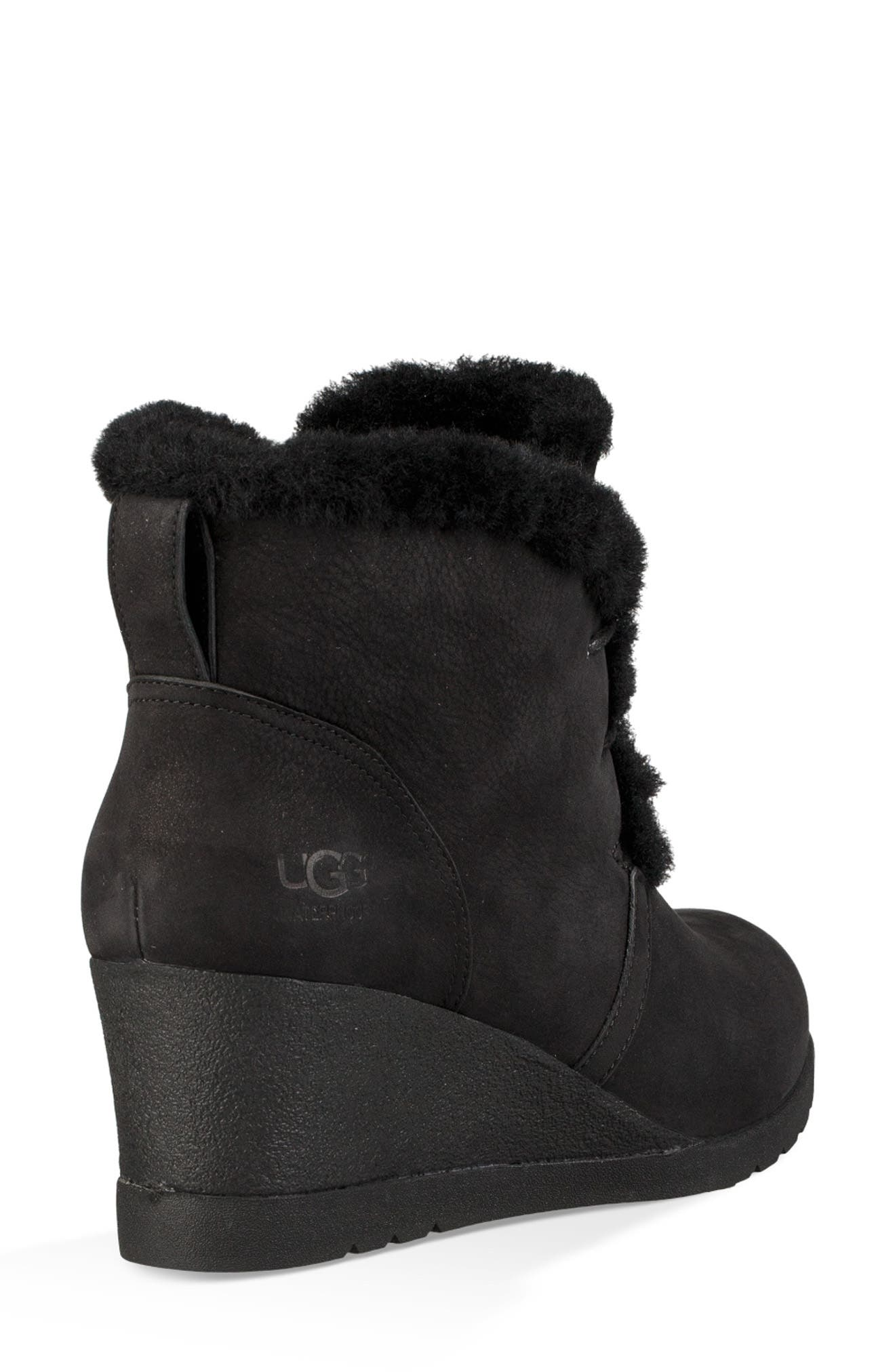 Jeovana Genuine Shearling Lined Boot,                             Alternate thumbnail 2, color,                             BLACK SUEDE