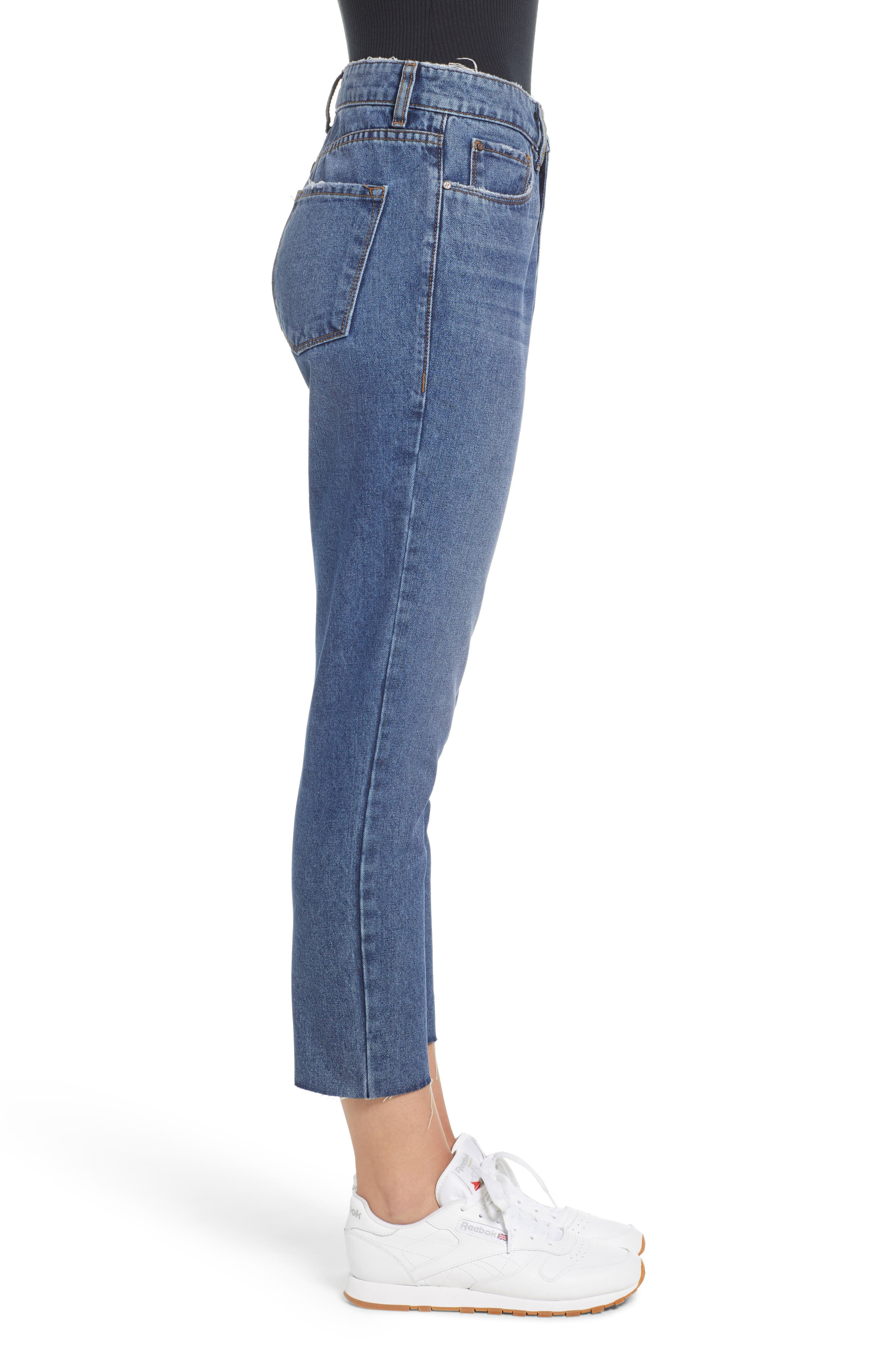 High Waist Straight Leg Crop Jeans,                             Alternate thumbnail 3, color,                             401