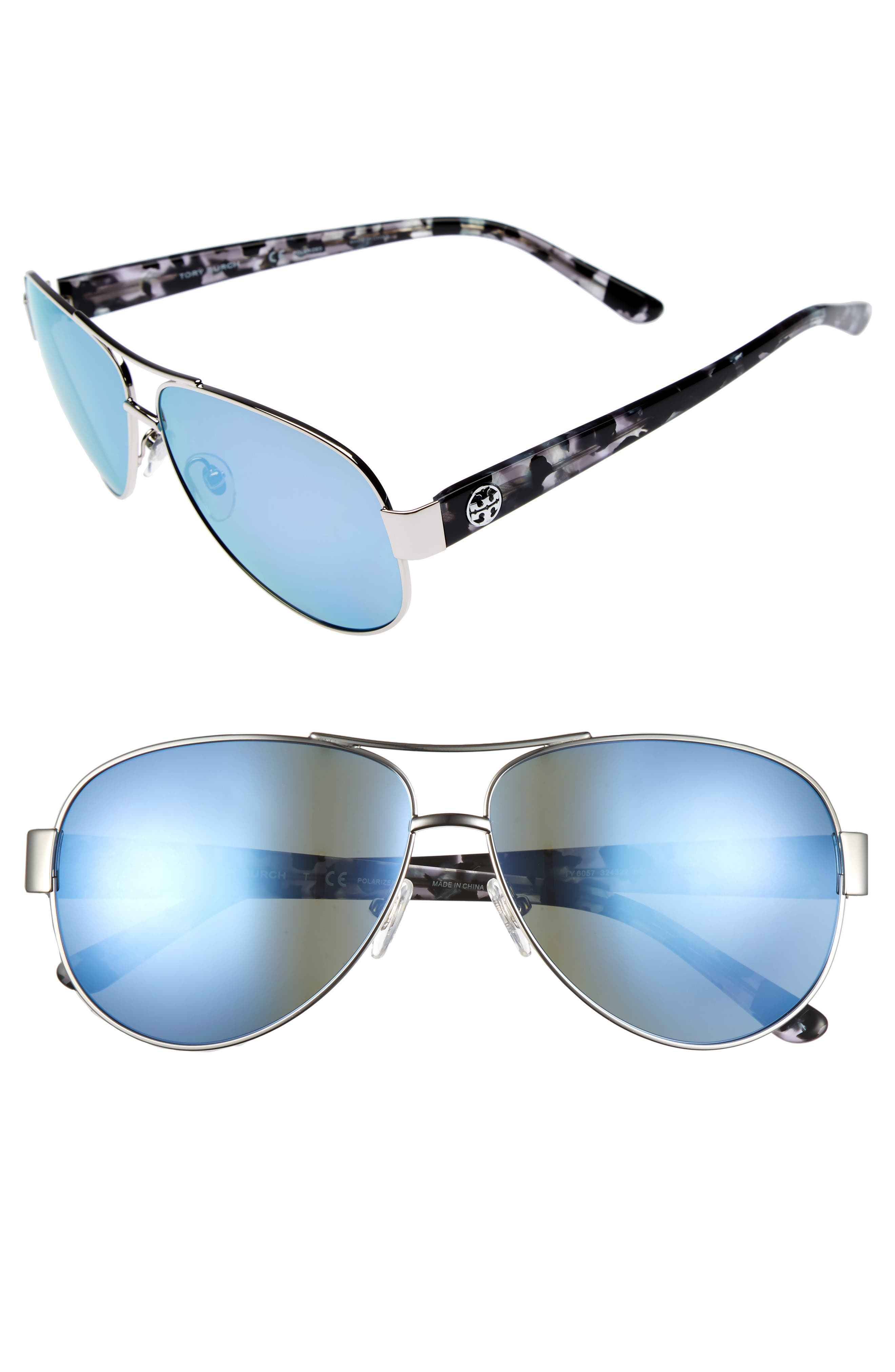 60mm Polarized Aviator Sunglasses,                         Main,                         color, 040