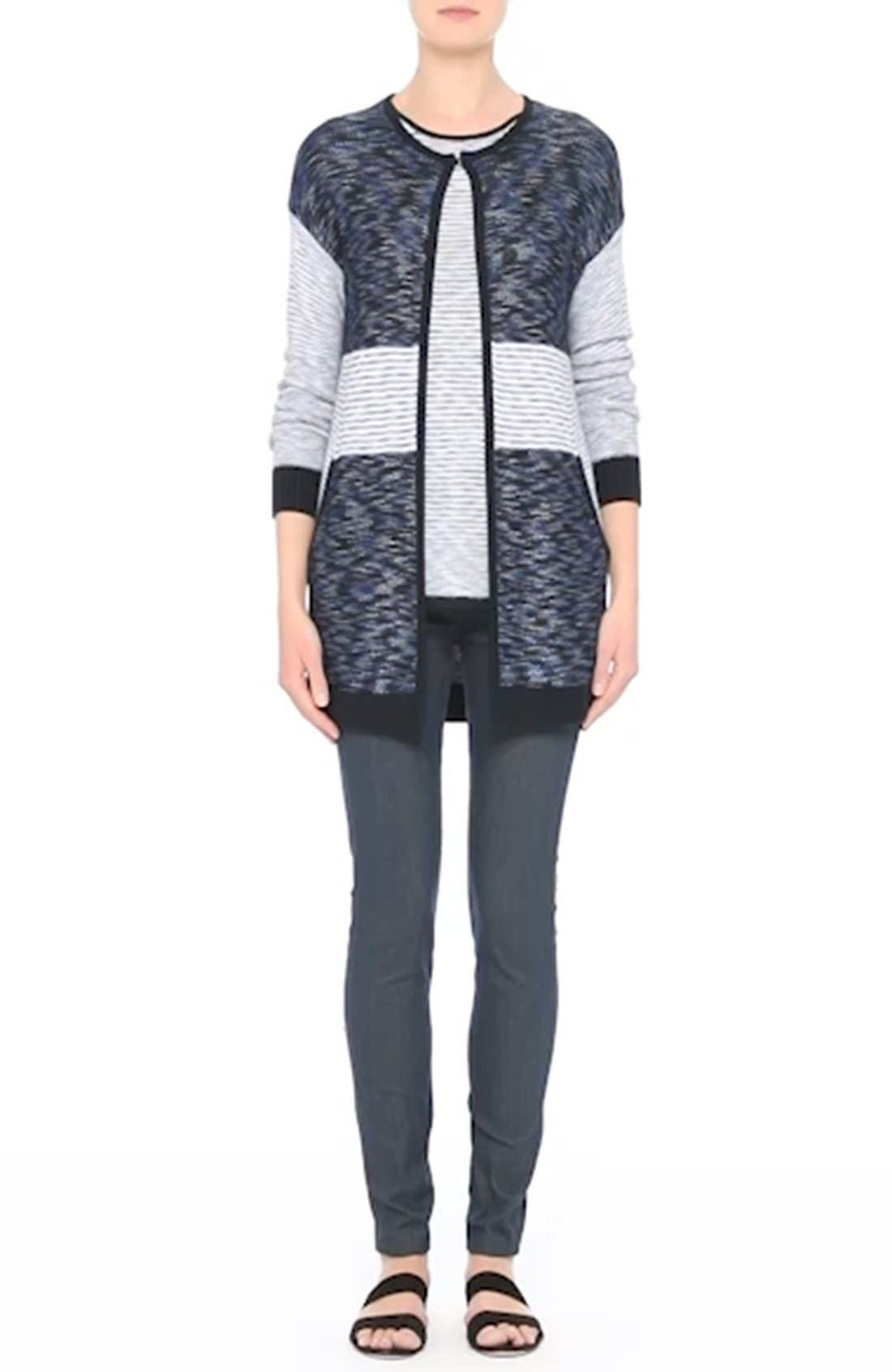 Chambray Effect Links Knit Cardigan,                             Alternate thumbnail 7, color,                             400