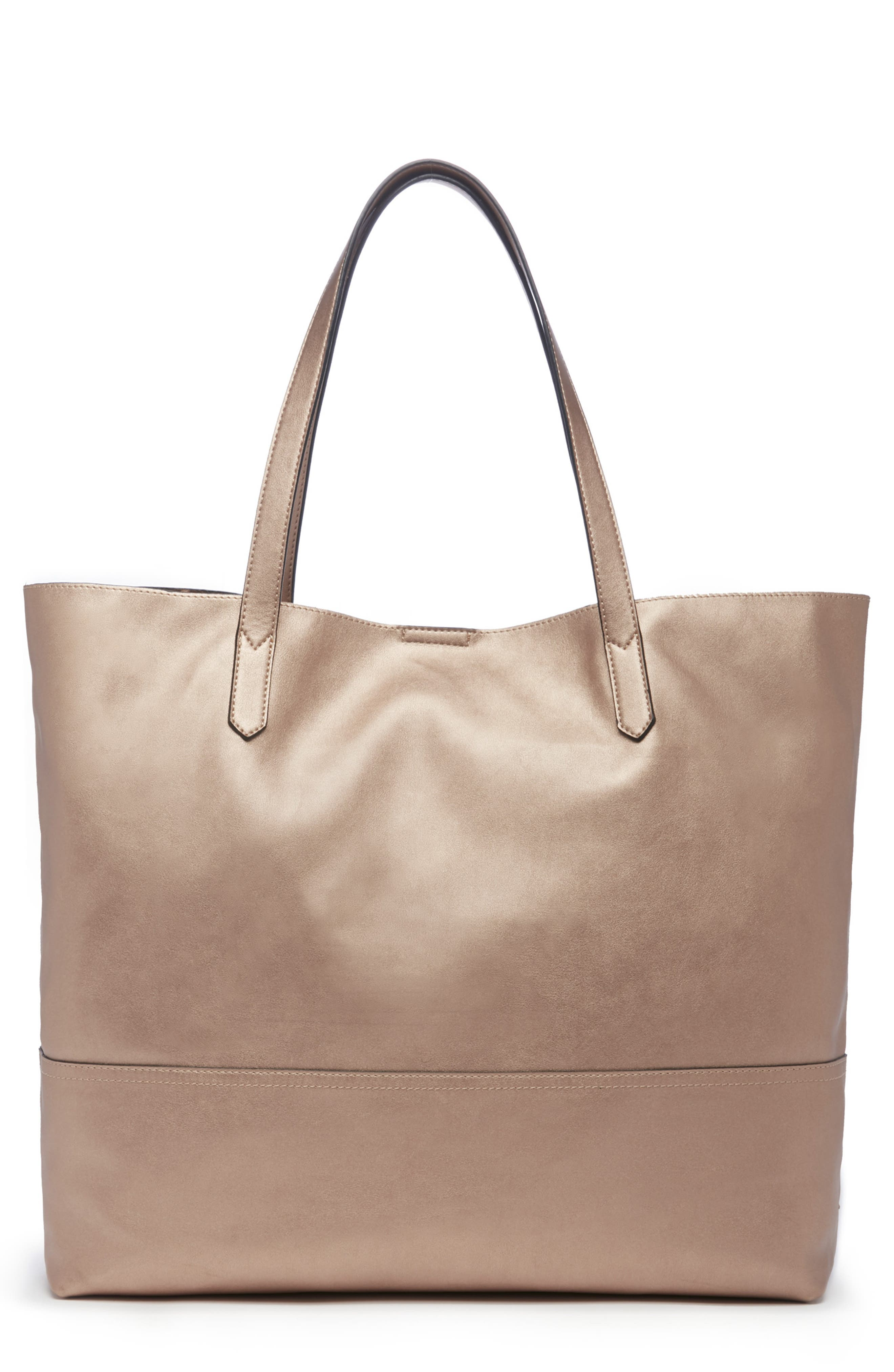 Inell Metallic Faux Leather Tote,                             Main thumbnail 1, color,                             ROSE GOLD