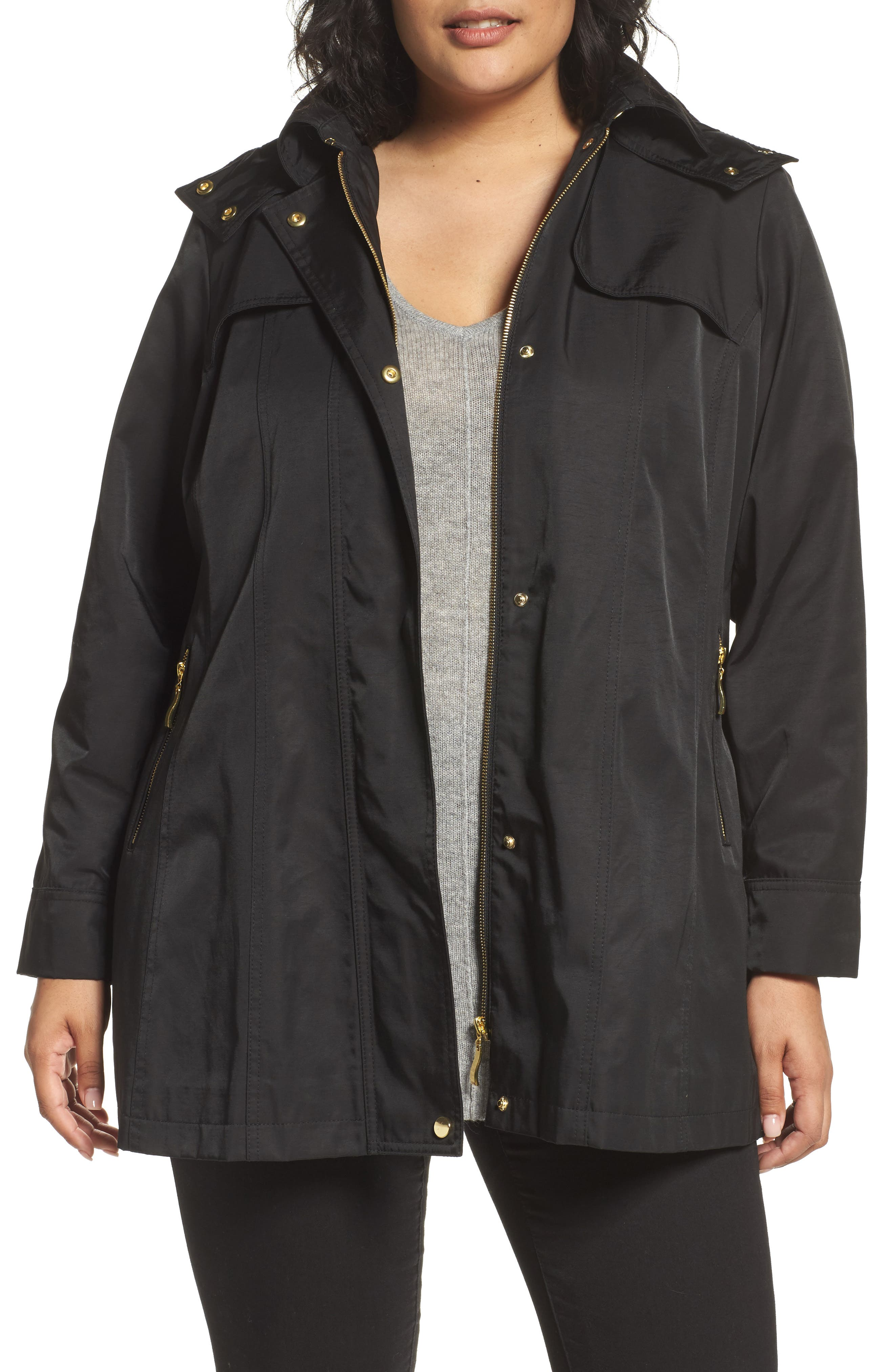 Packable Fit & Flare Raincoat,                             Main thumbnail 1, color,                             BLACK