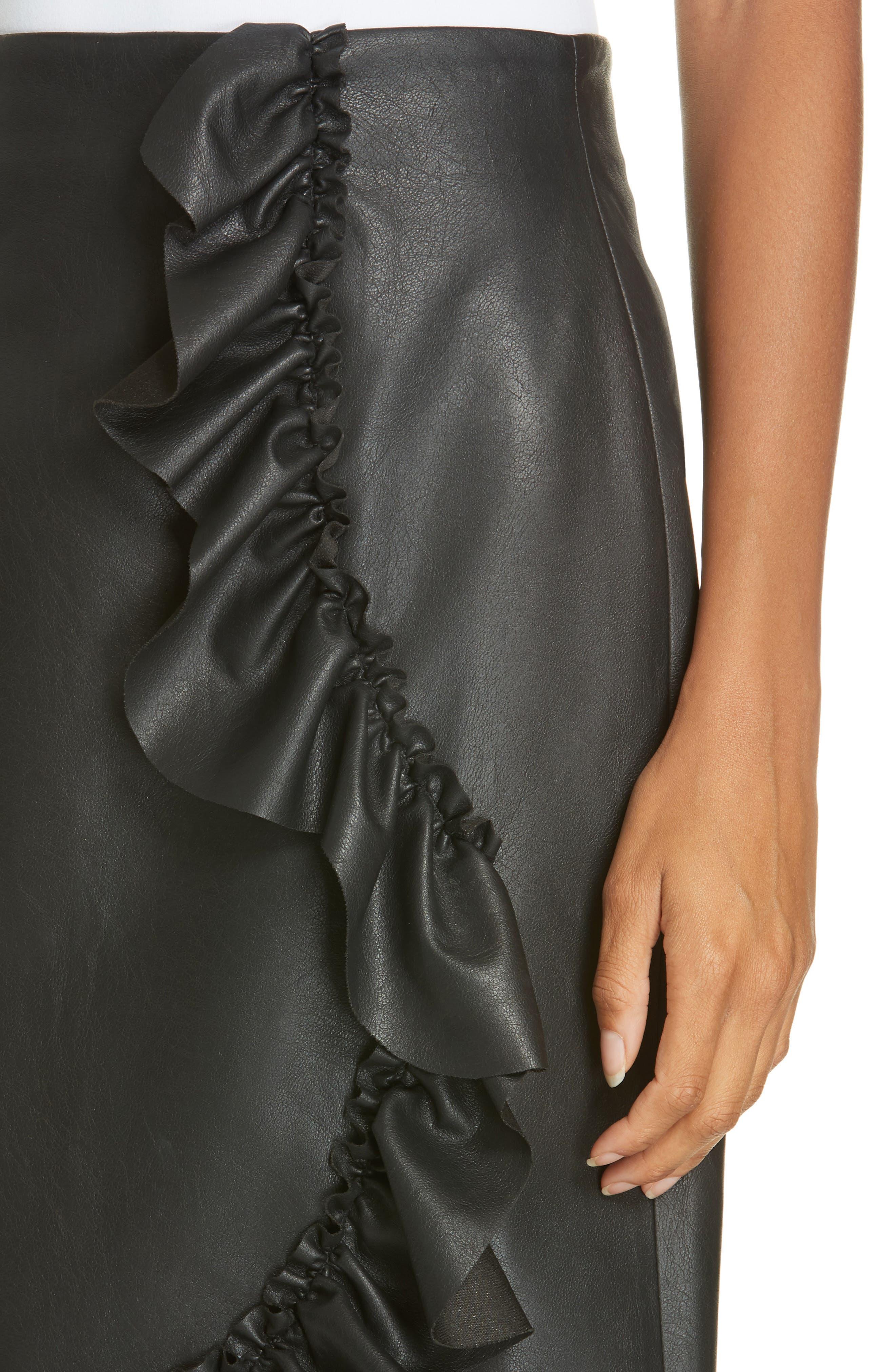 Faux Leather Ruffle Skirt,                             Alternate thumbnail 4, color,                             BLACK