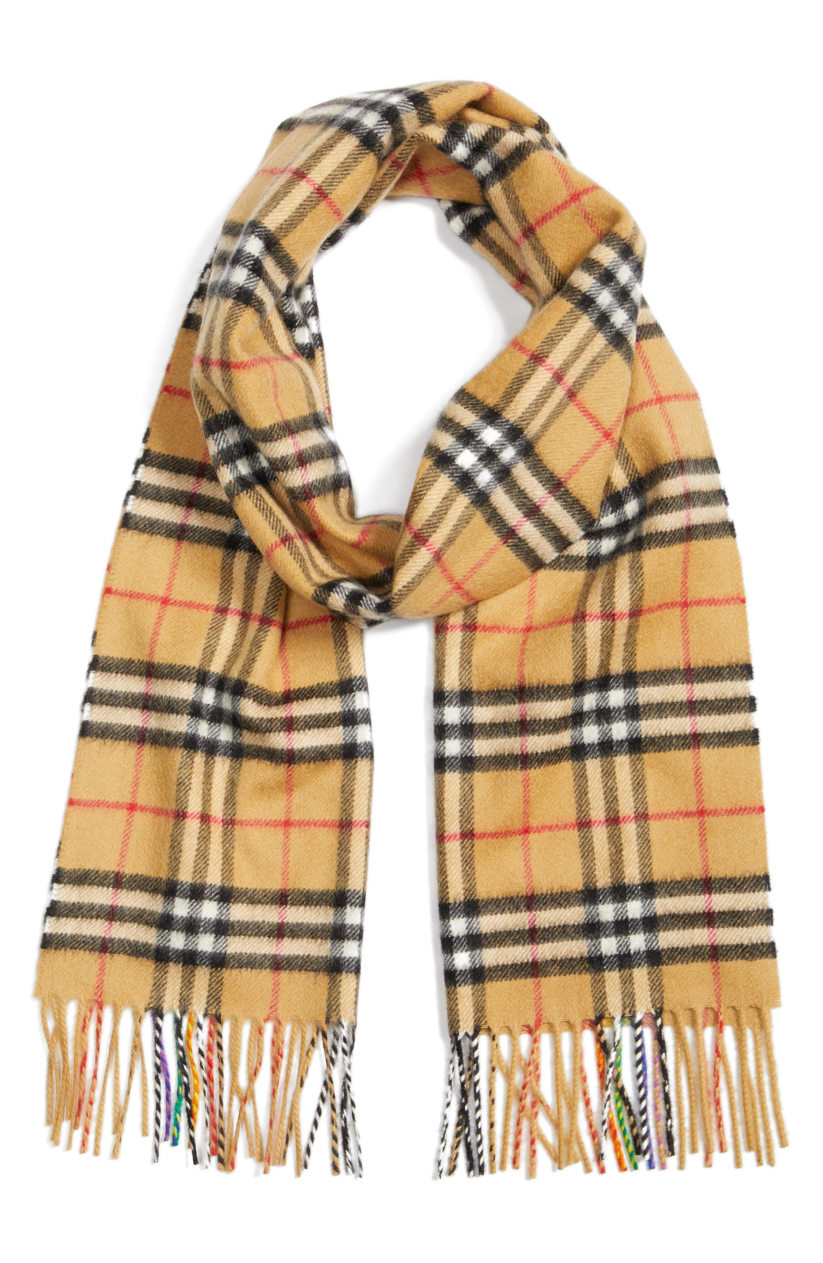 BURBERRY,                             Rainbow Stripe Vintage Check Cashmere Scarf,                             Alternate thumbnail 3, color,                             ANTIQUE YELLOW/ RAINBOW