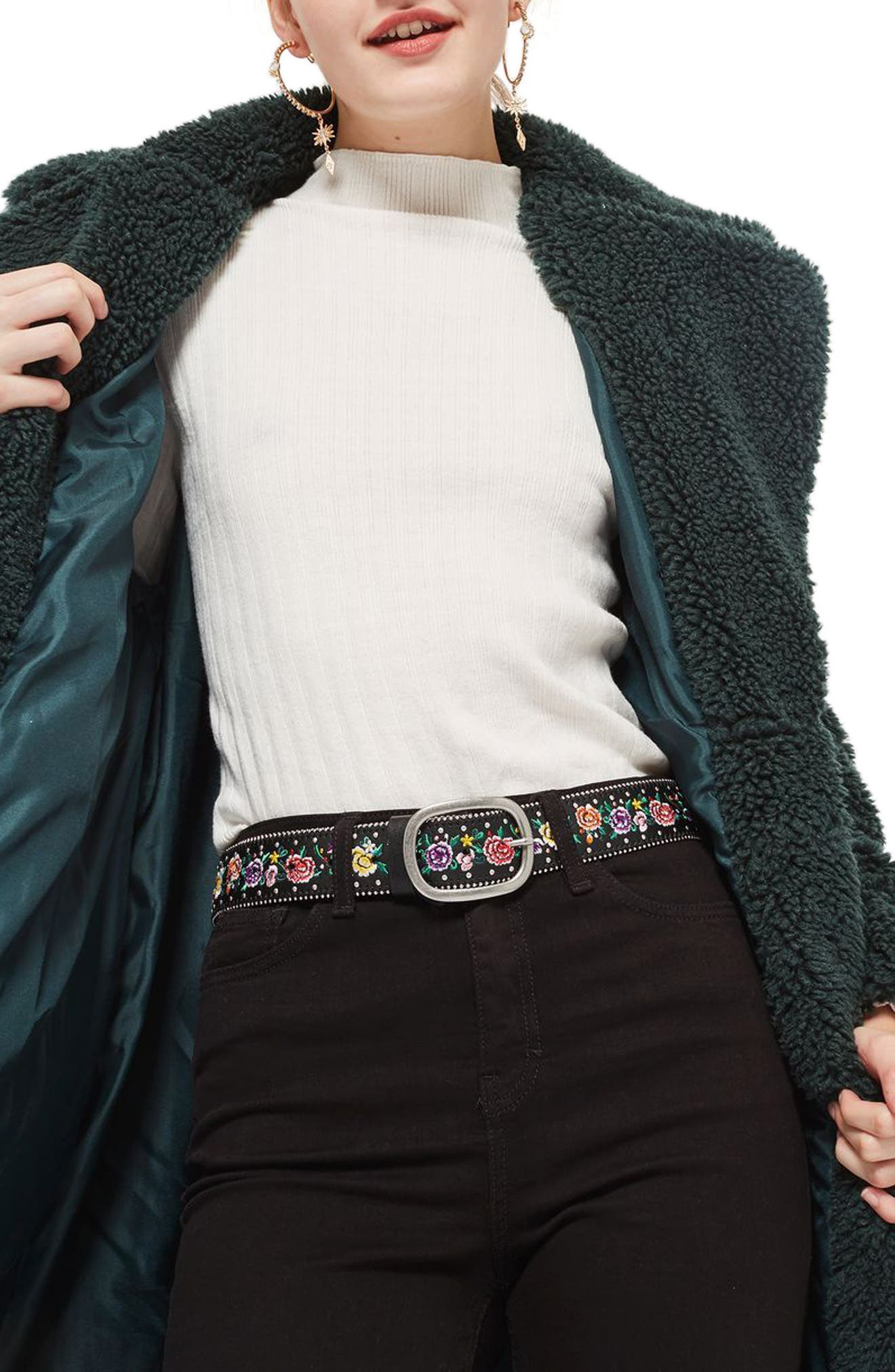 Chain Trim Floral Embroidered Belt,                             Alternate thumbnail 3, color,
