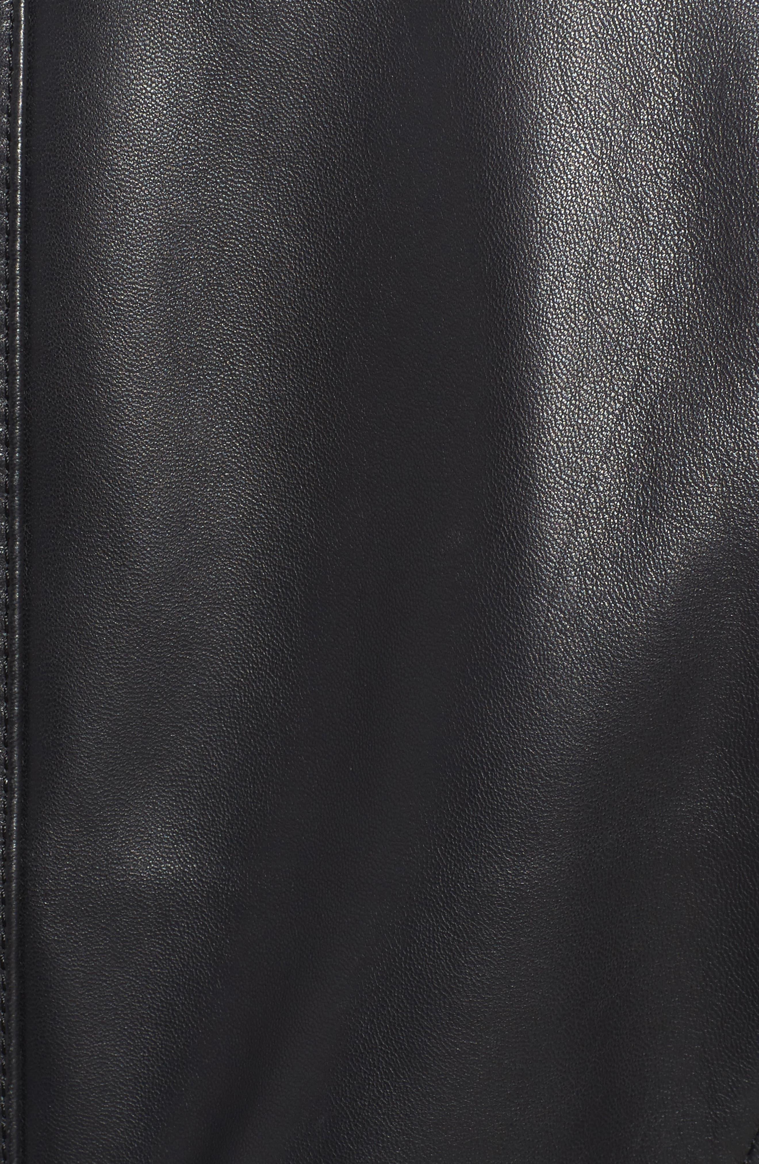 Jetta Knit Detail Leather Scuba Jacket,                             Alternate thumbnail 6, color,                             001