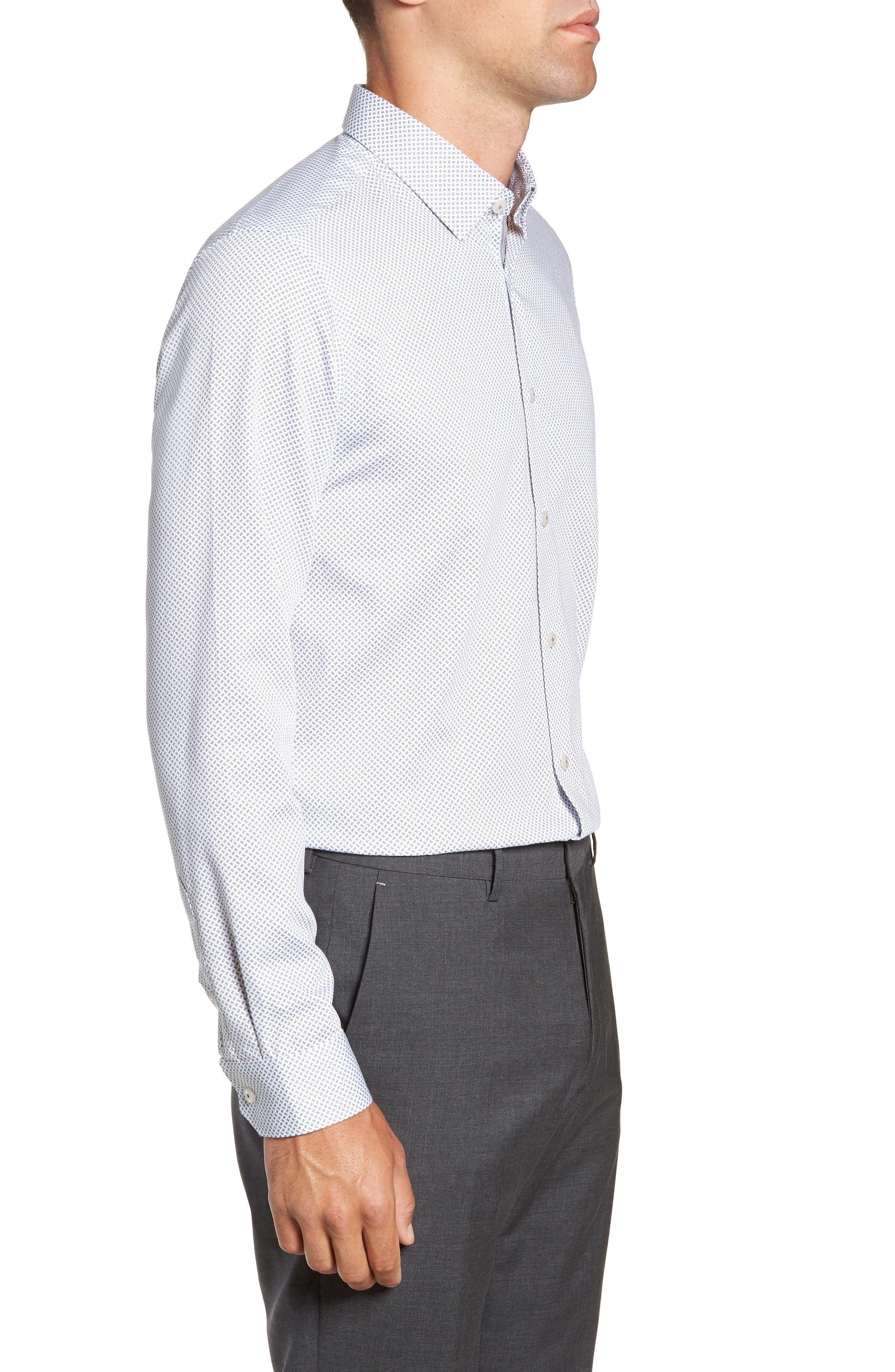 Aspara Modern Fit Geometric Dress Shirt,                             Alternate thumbnail 4, color,                             WHITE/ NAVY