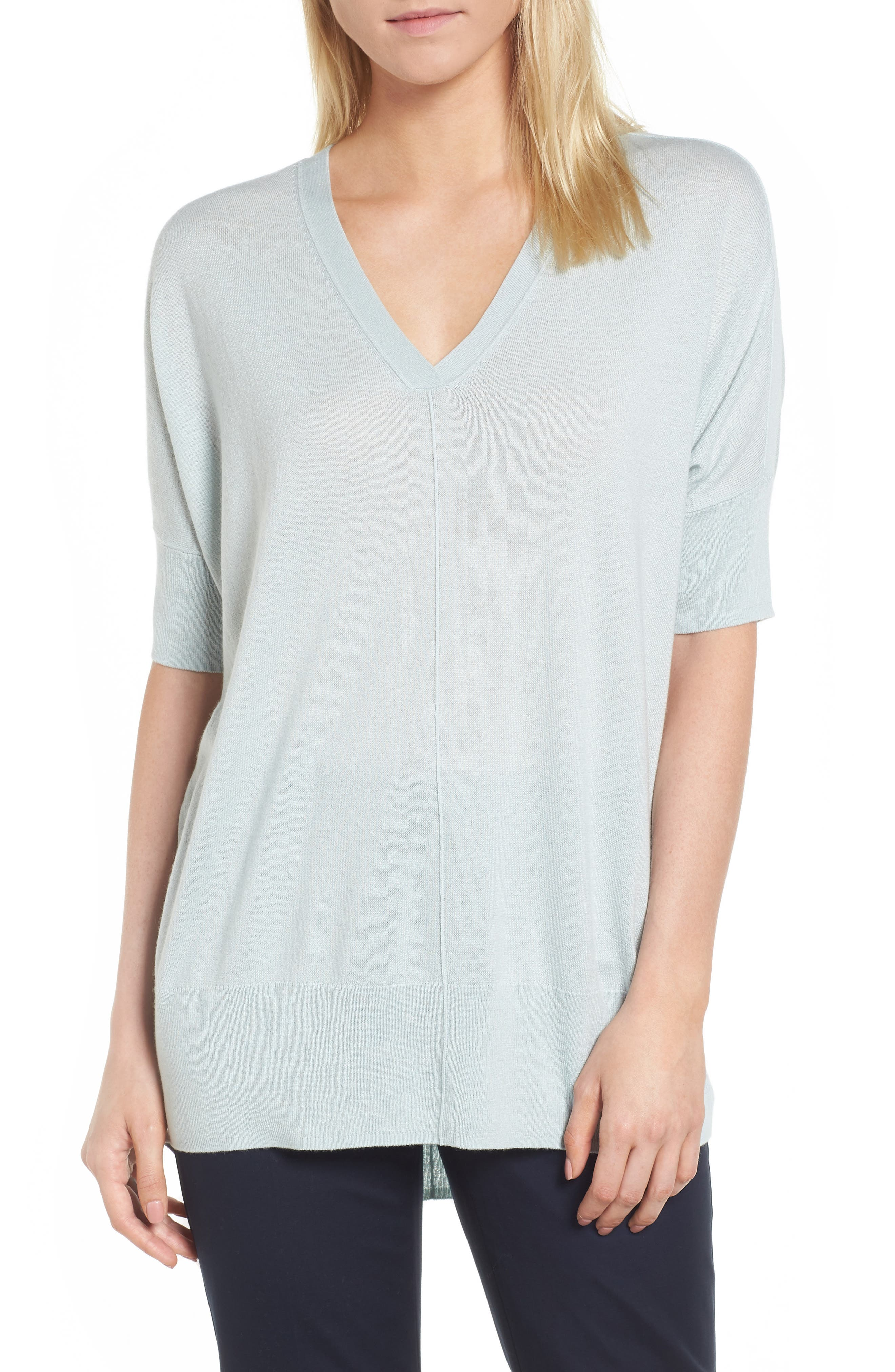 High/Low Silk & Cashmere Sweater,                             Main thumbnail 1, color,                             330