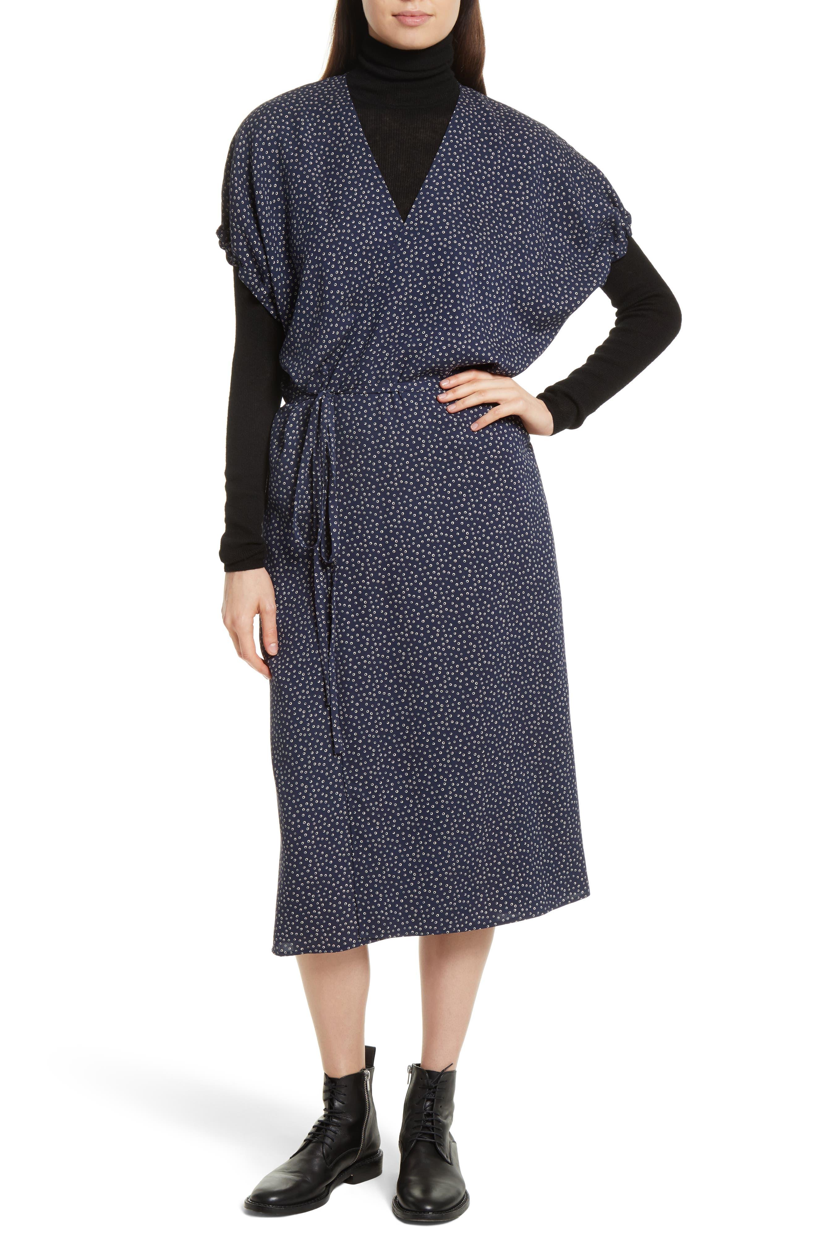 Celestial Polka Dot Kimono Wrap Dress,                             Main thumbnail 1, color,                             415