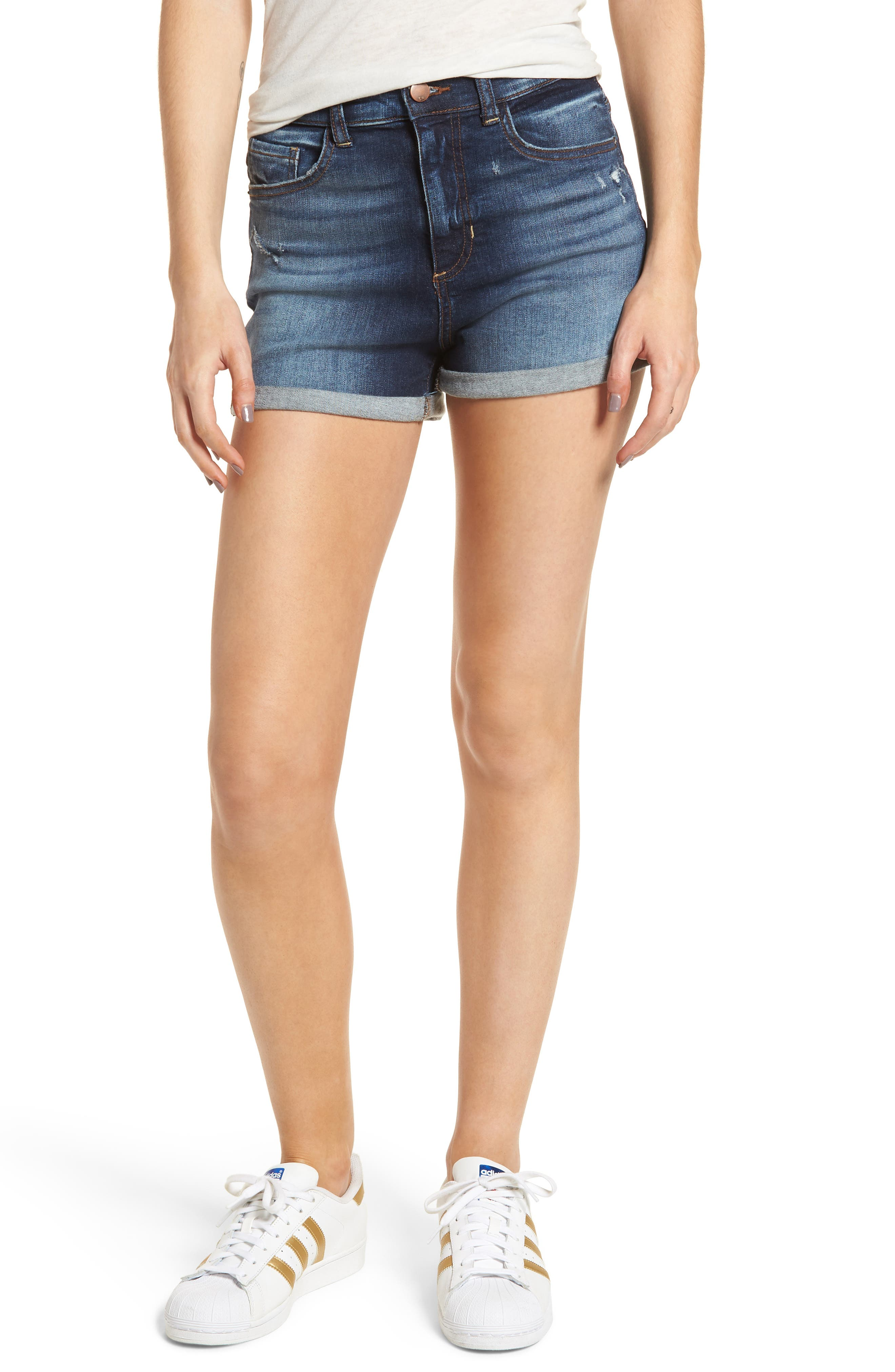 Cuffed High Waist Denim Shorts,                             Main thumbnail 1, color,                             401