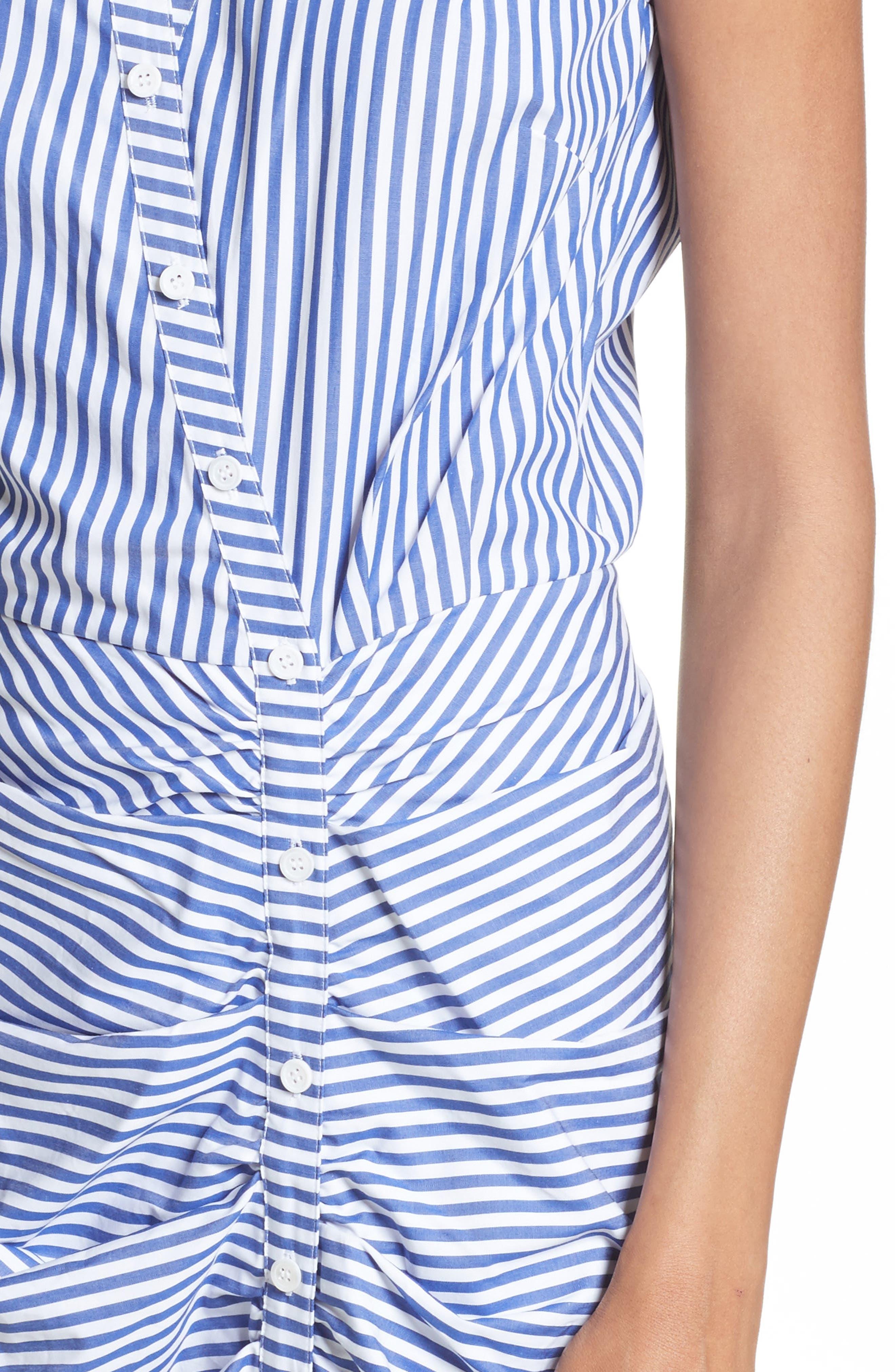 Ruched Stripe Shirtdress,                             Alternate thumbnail 4, color,                             BLUE/WHITE STRIPE