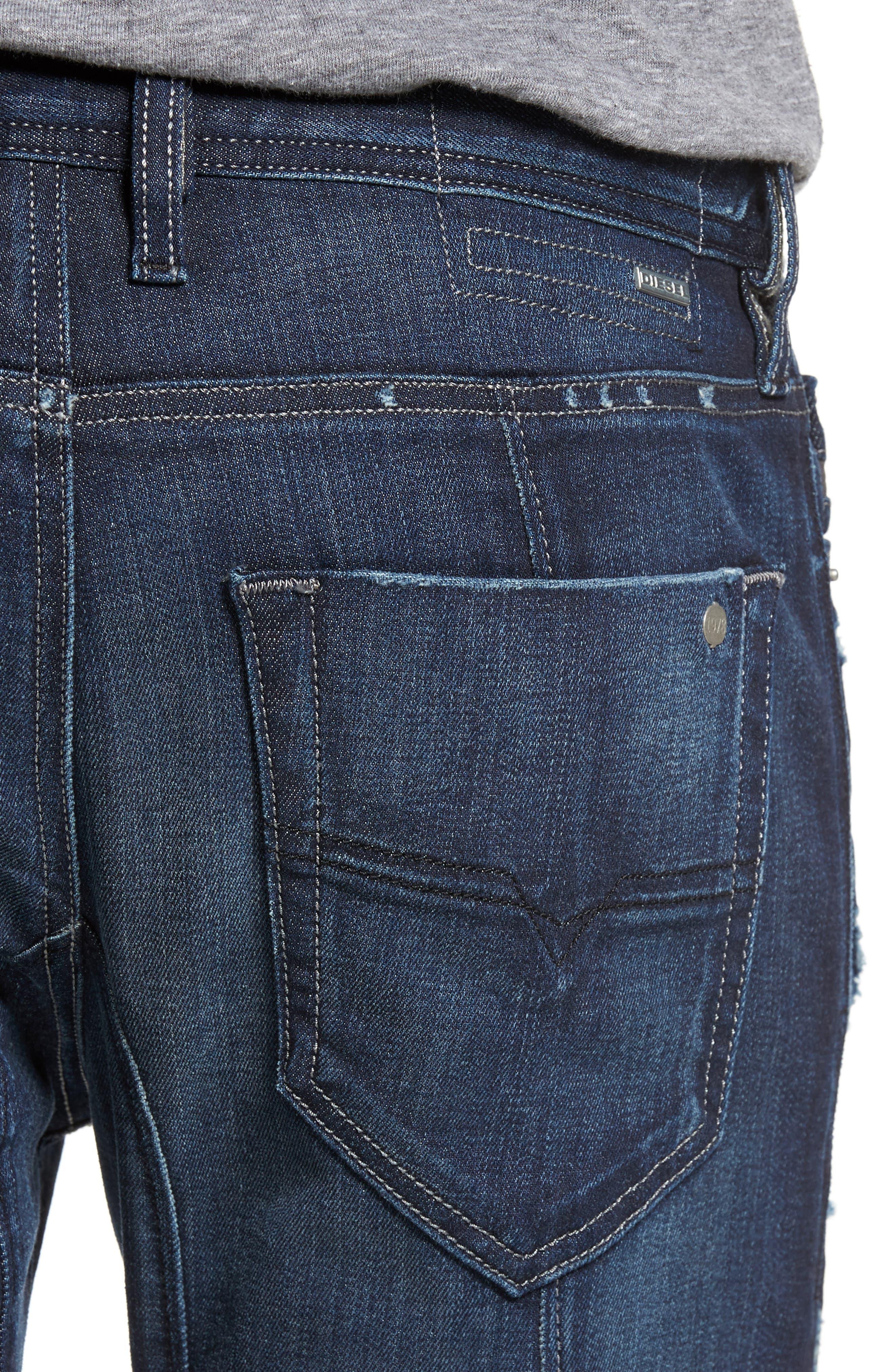 T-Ride Skinny Fit Moto Jeans,                             Alternate thumbnail 4, color,                             400