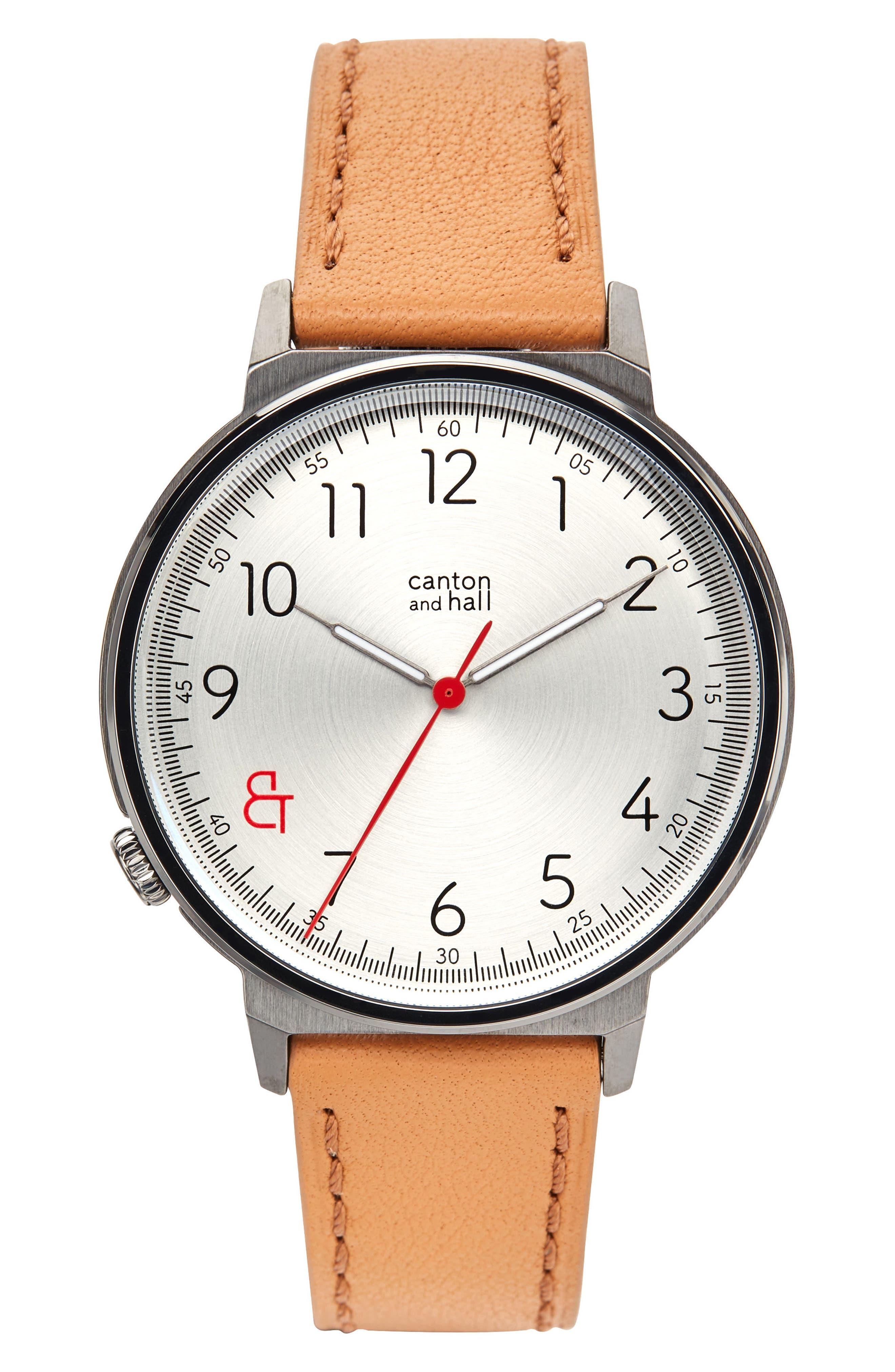 Davis Slim Leather Strap Watch, 44mm,                         Main,                         color, 250