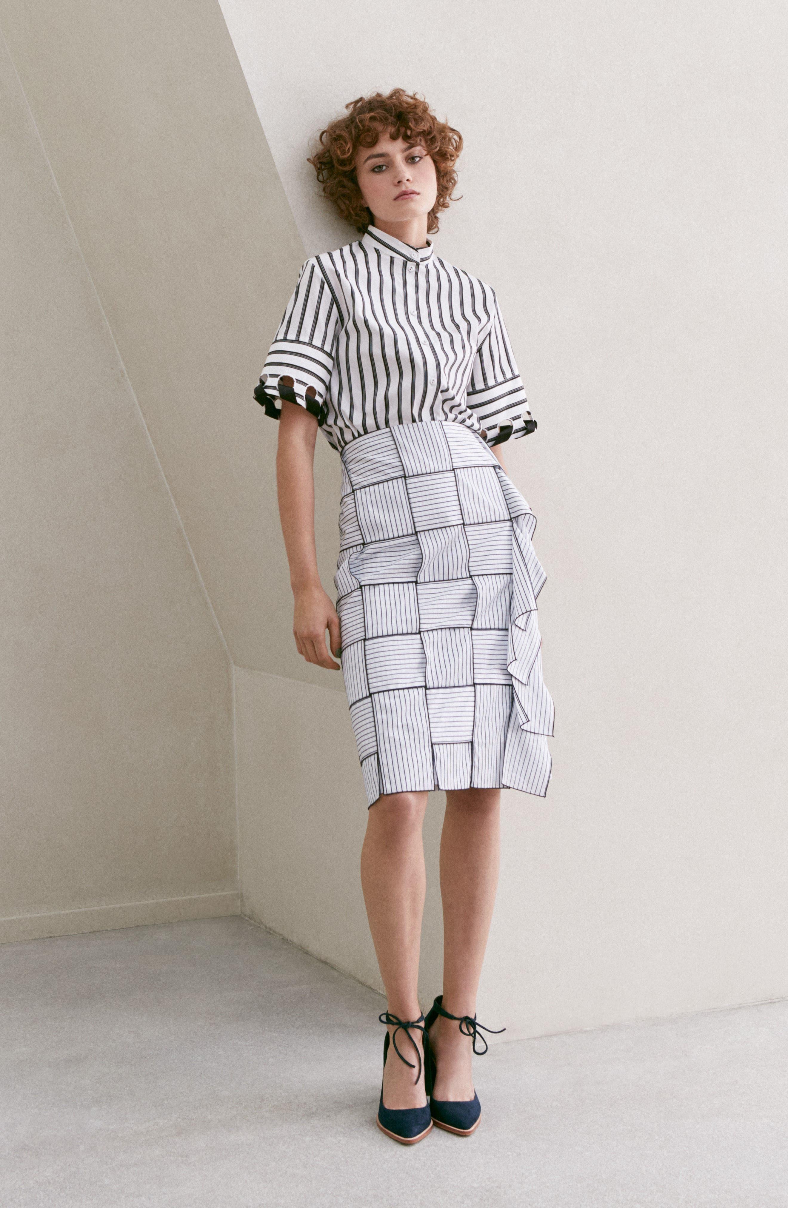 Basket-Weave Pencil Skirt,                             Alternate thumbnail 7, color,                             404