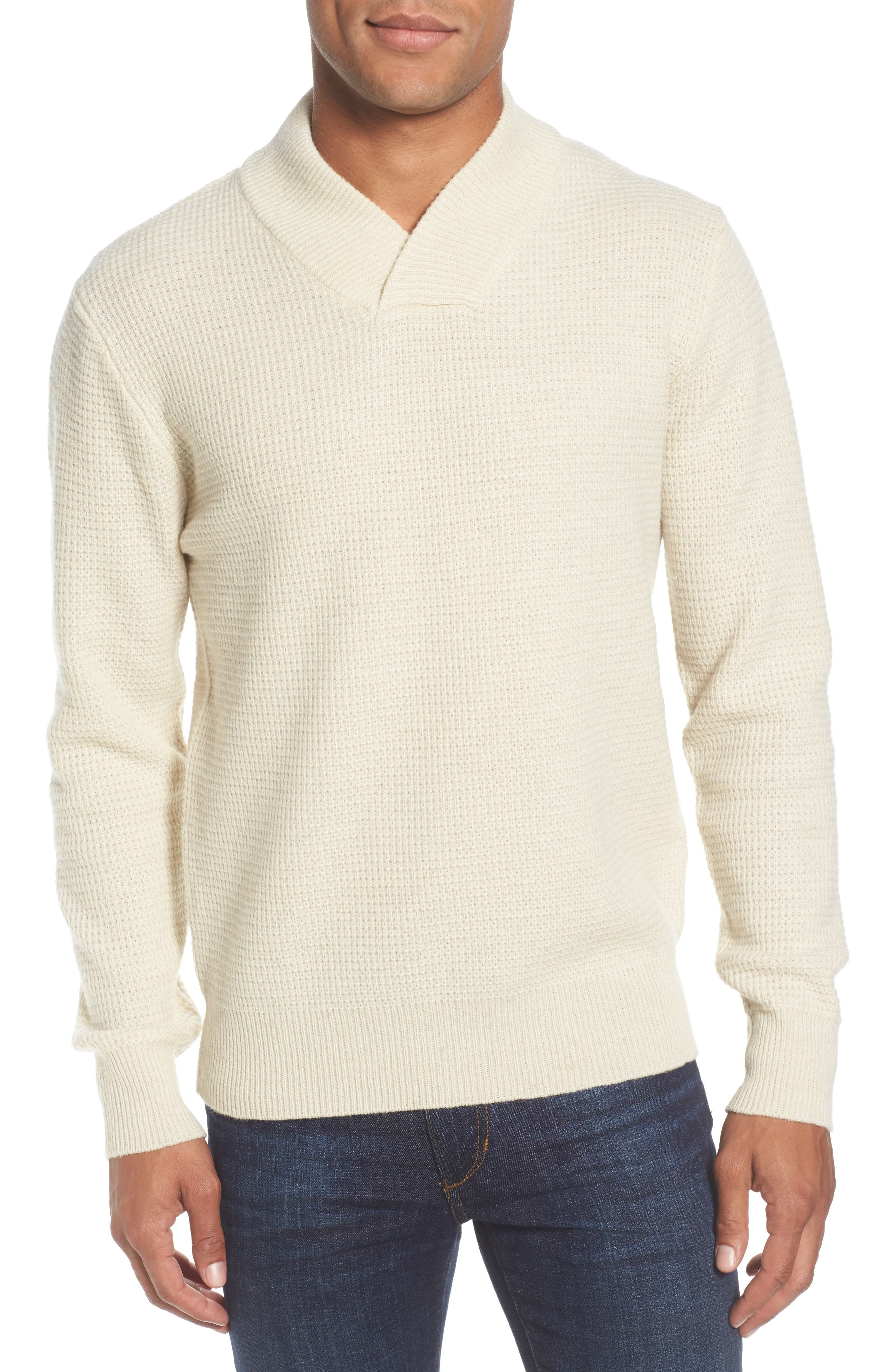 Schott Nyc Waffle Knit Thermal Wool Blend Pullover, White