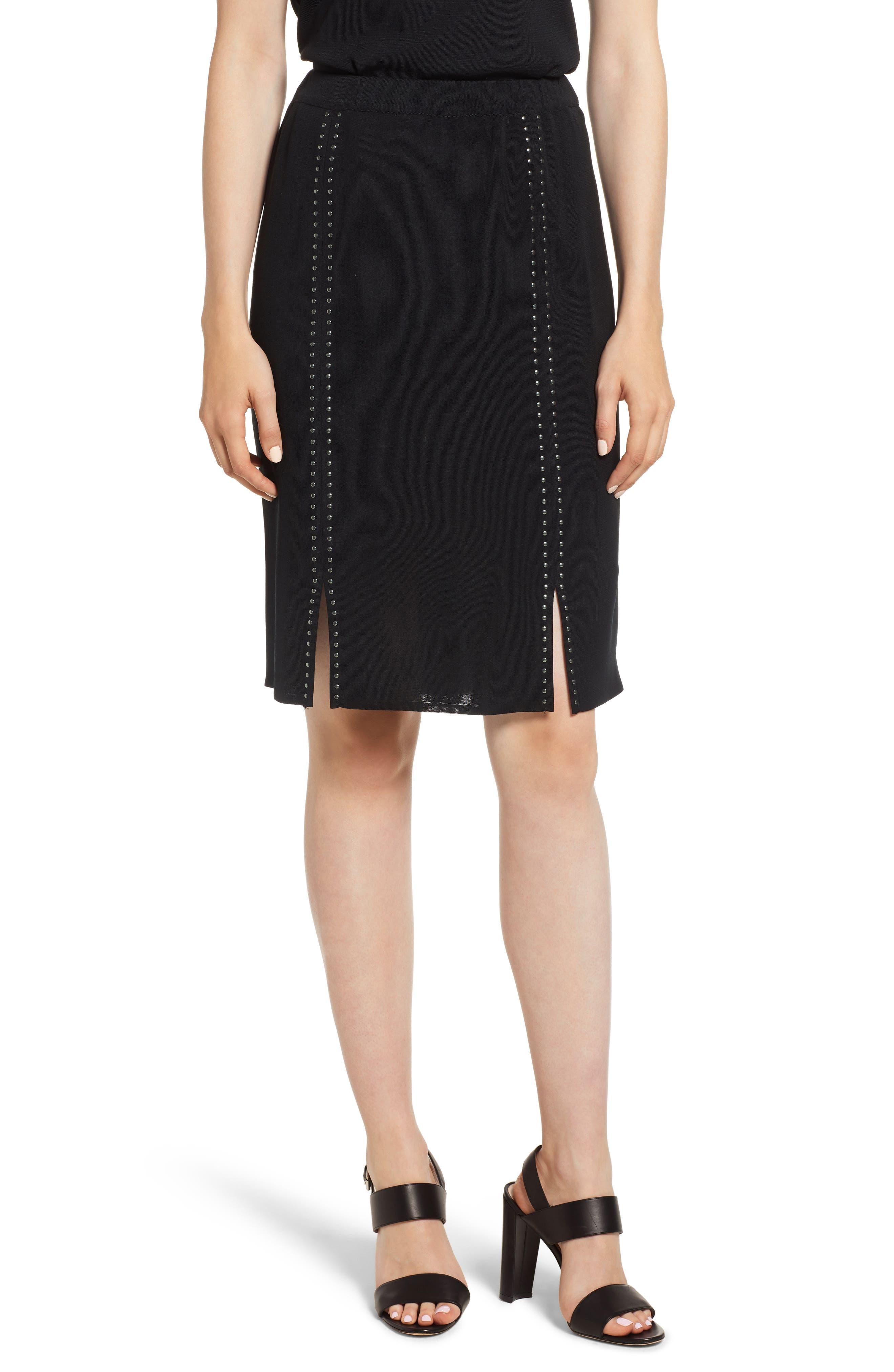 Ming Wang Studded Knit Skirt, Black