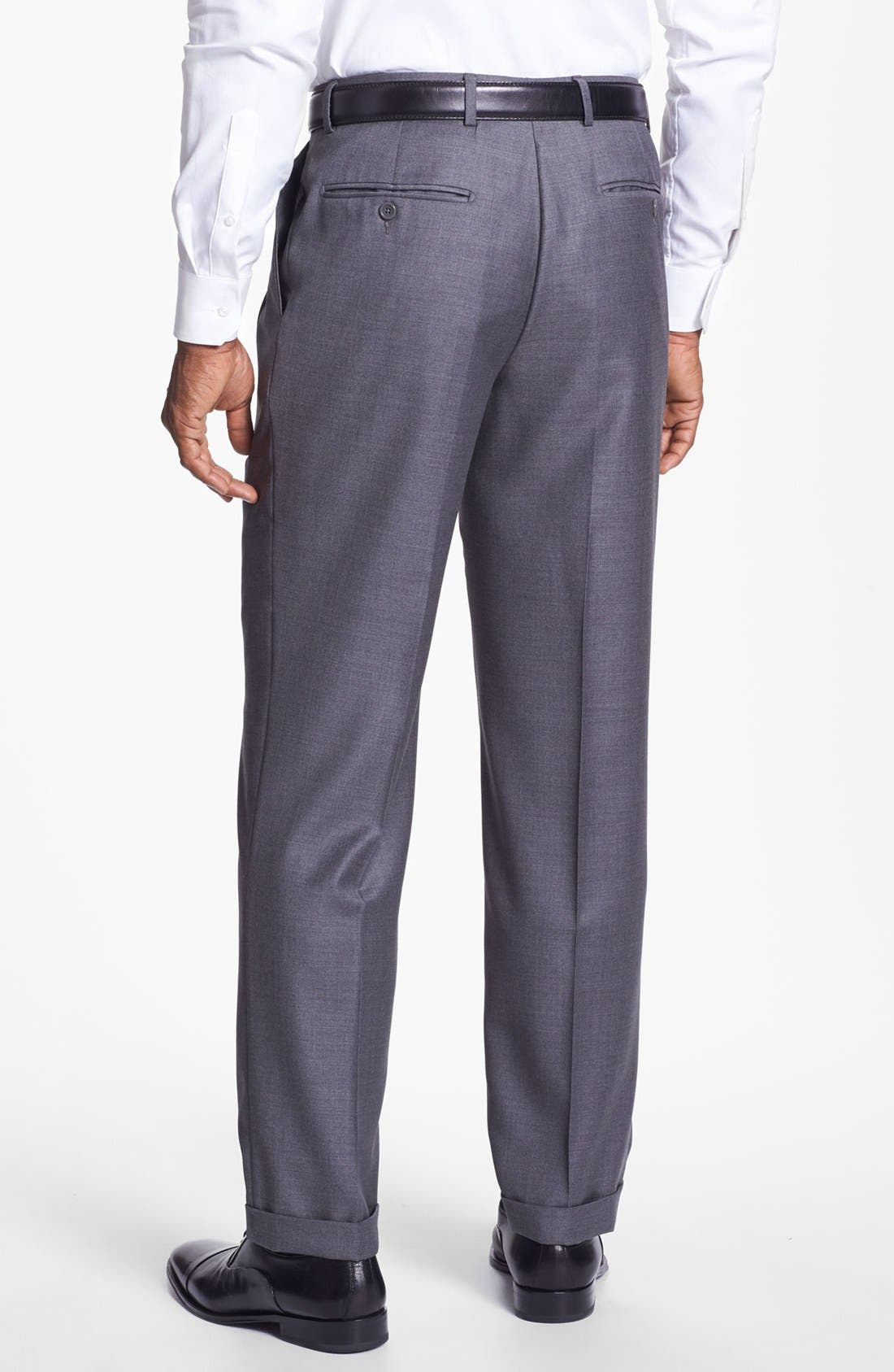 'Luxury Serge' Double Pleated Wool Trousers,                             Alternate thumbnail 3, color,                             MED GREY