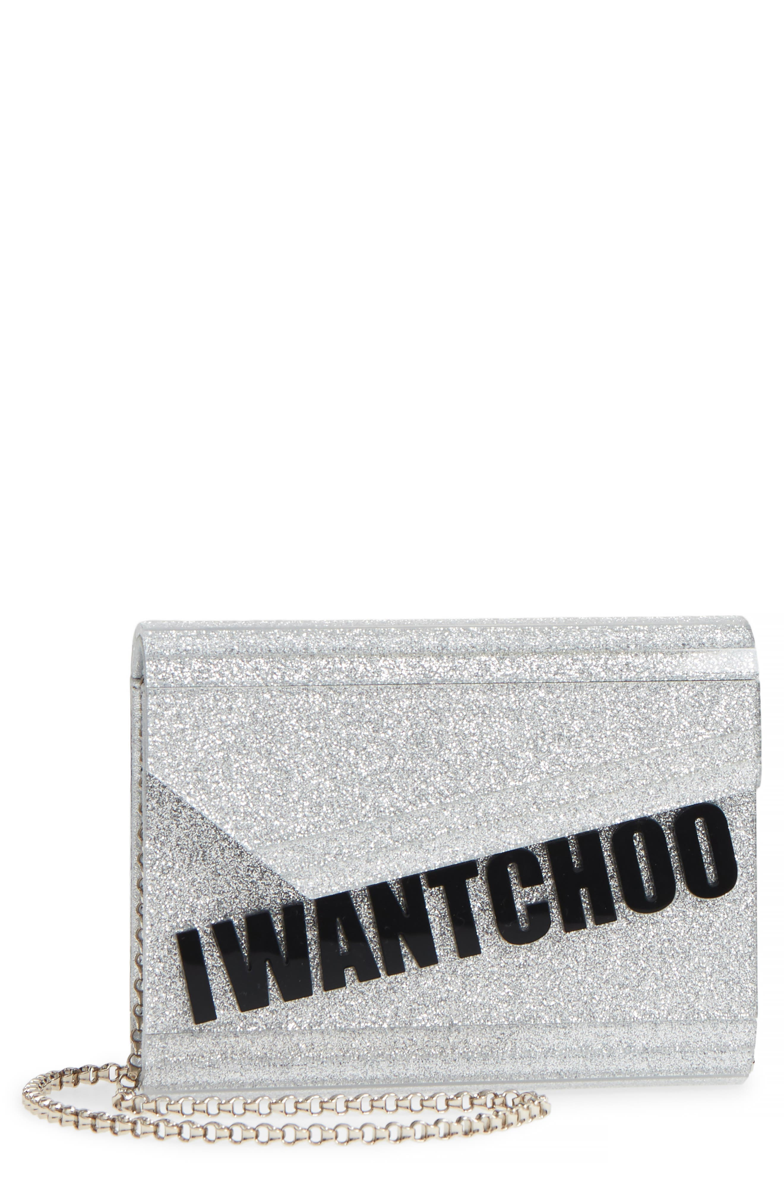 Candy I Want Choo Glitter Clutch,                             Main thumbnail 1, color,                             SILVER