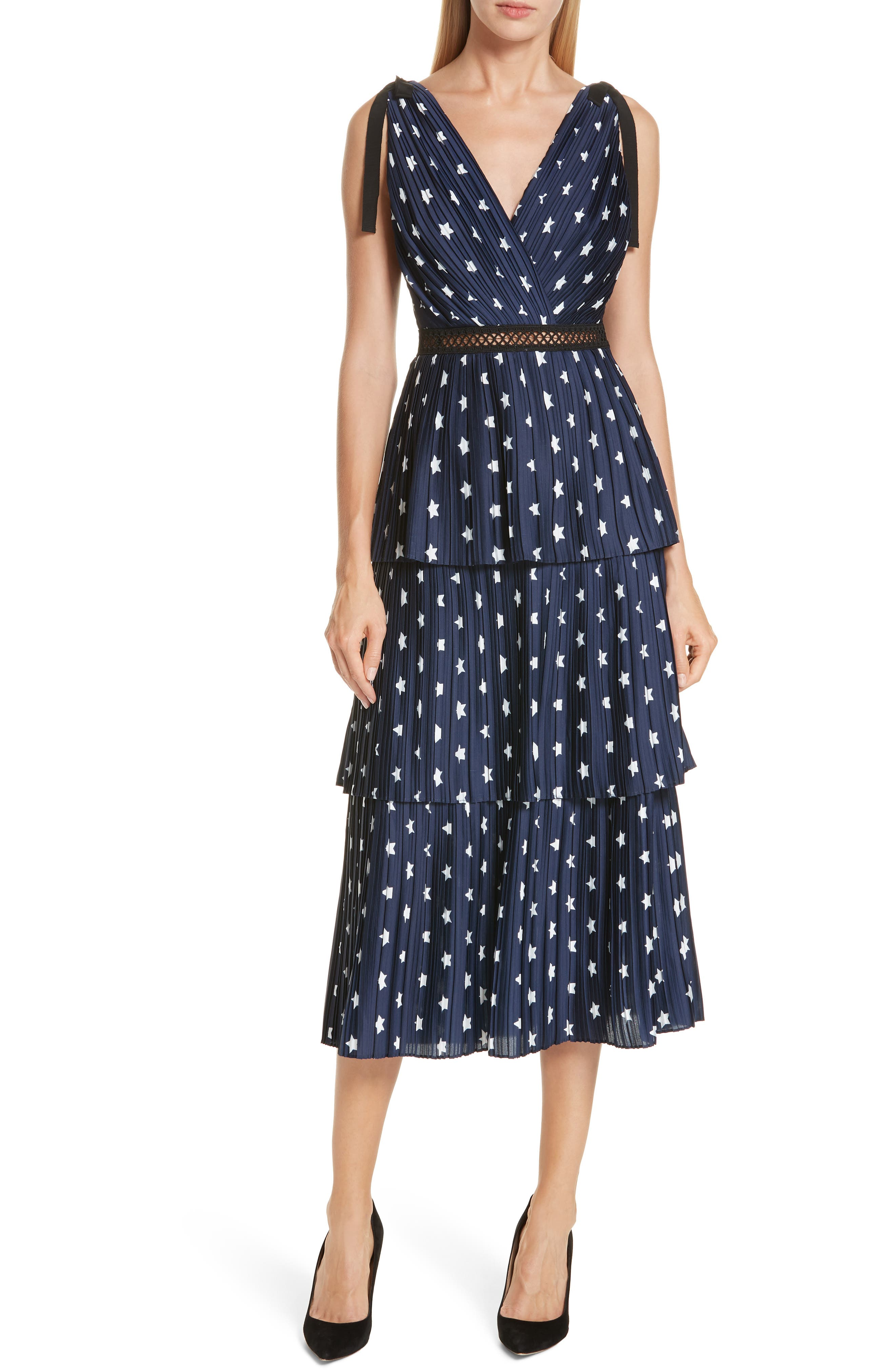 Star Print Tiered Midi Dress,                         Main,                         color, 400