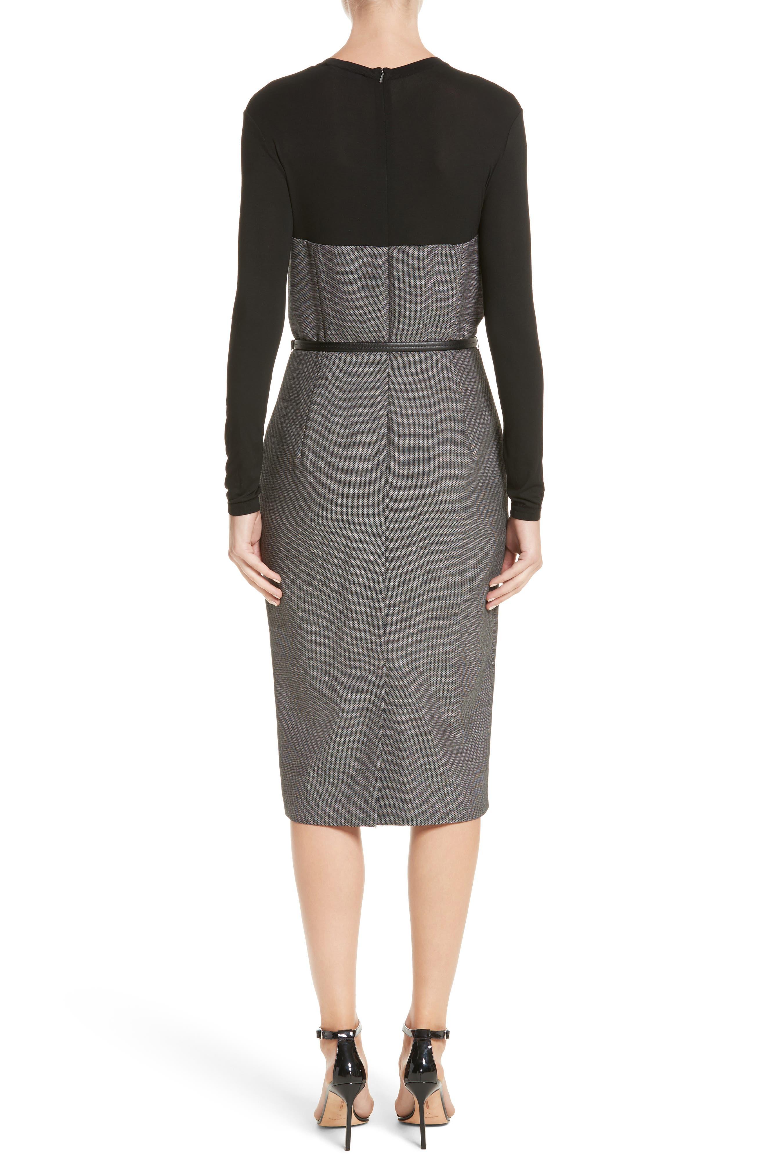 Canapa Stretch Wool Layered Sheath Dress,                             Alternate thumbnail 2, color,                             001