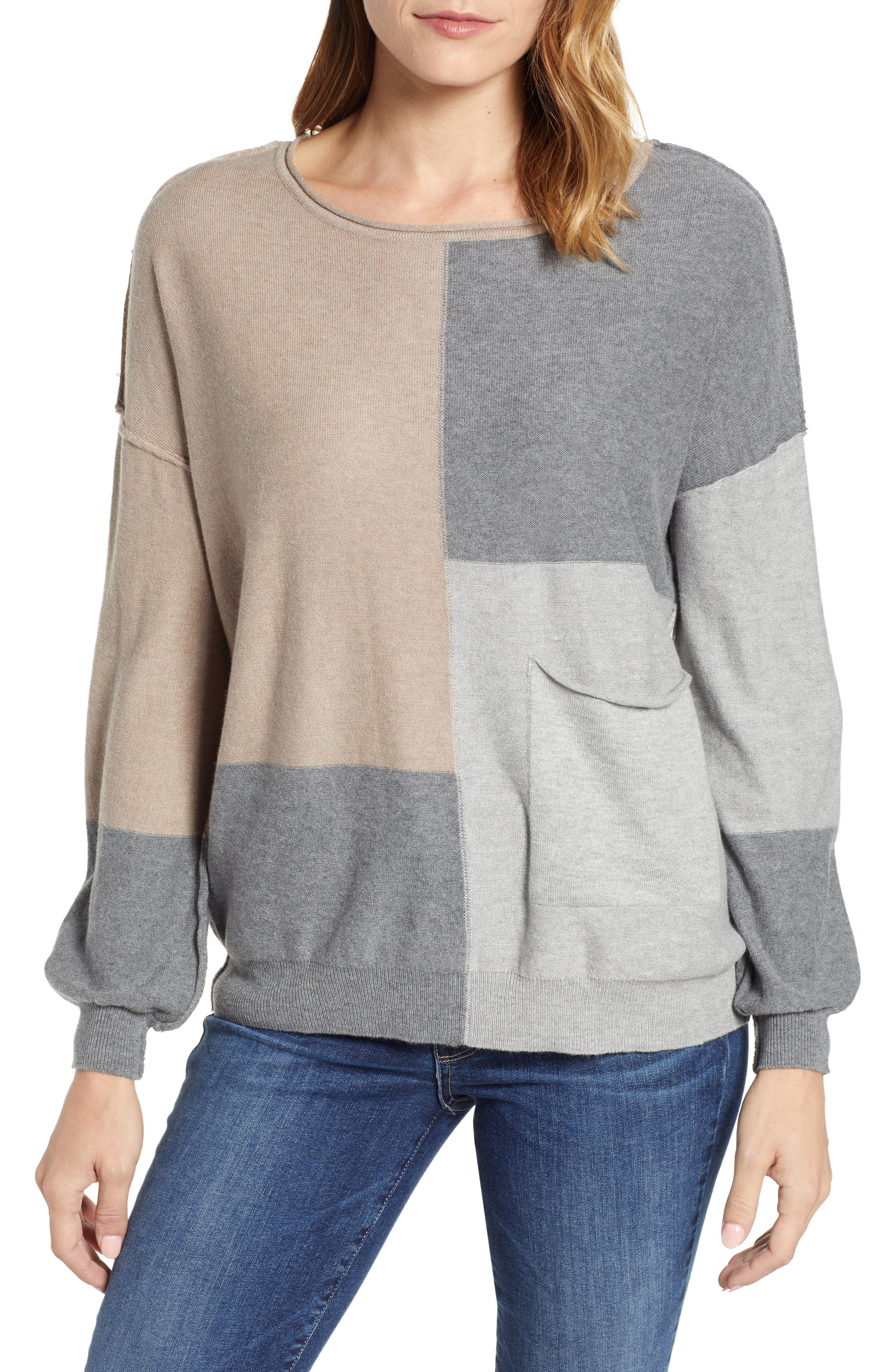 Colorblock Sweater,                             Main thumbnail 1, color,                             TAUPE/ HEATHER GREY