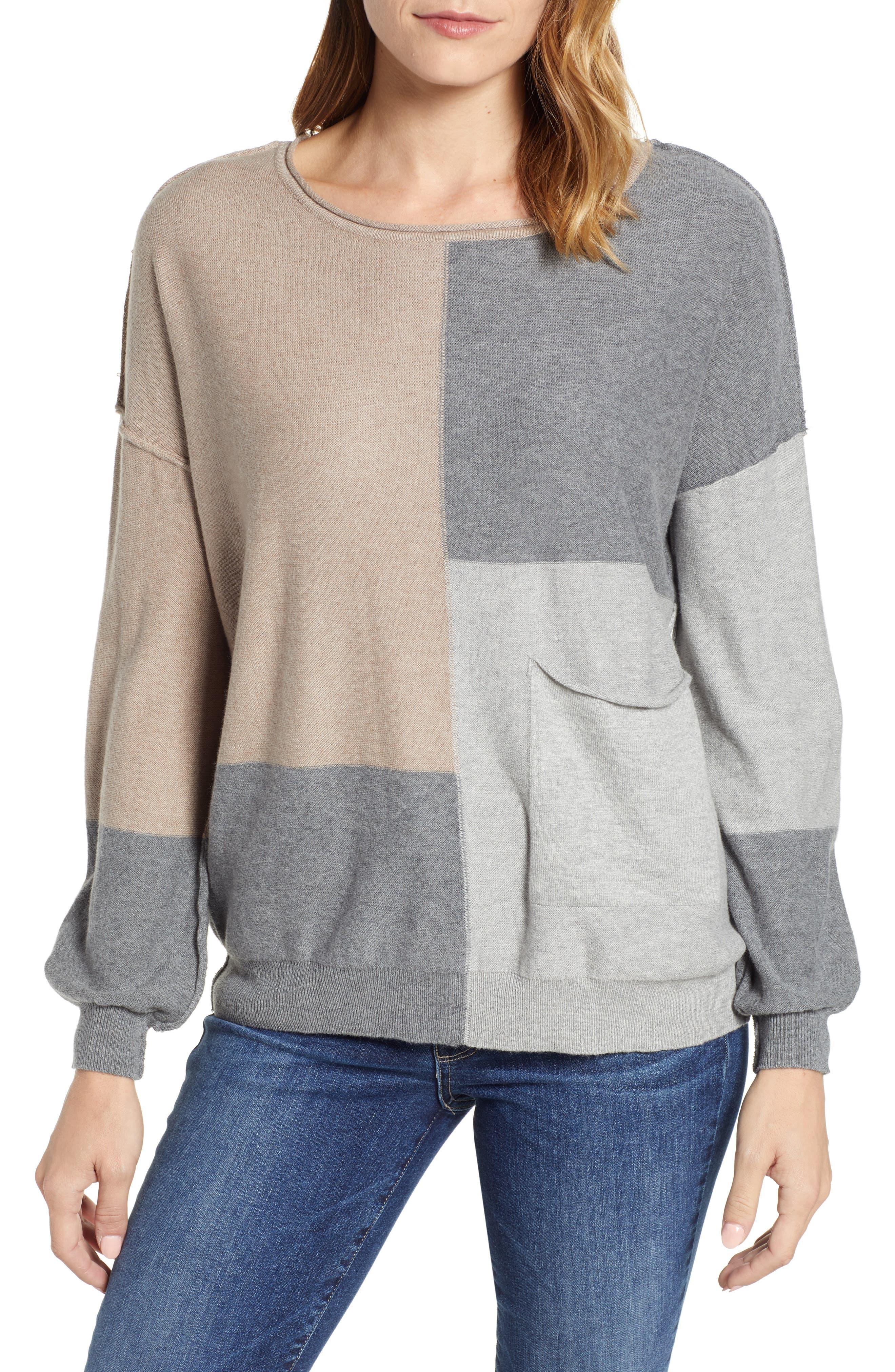 Colorblock Sweater,                         Main,                         color, TAUPE/ HEATHER GREY