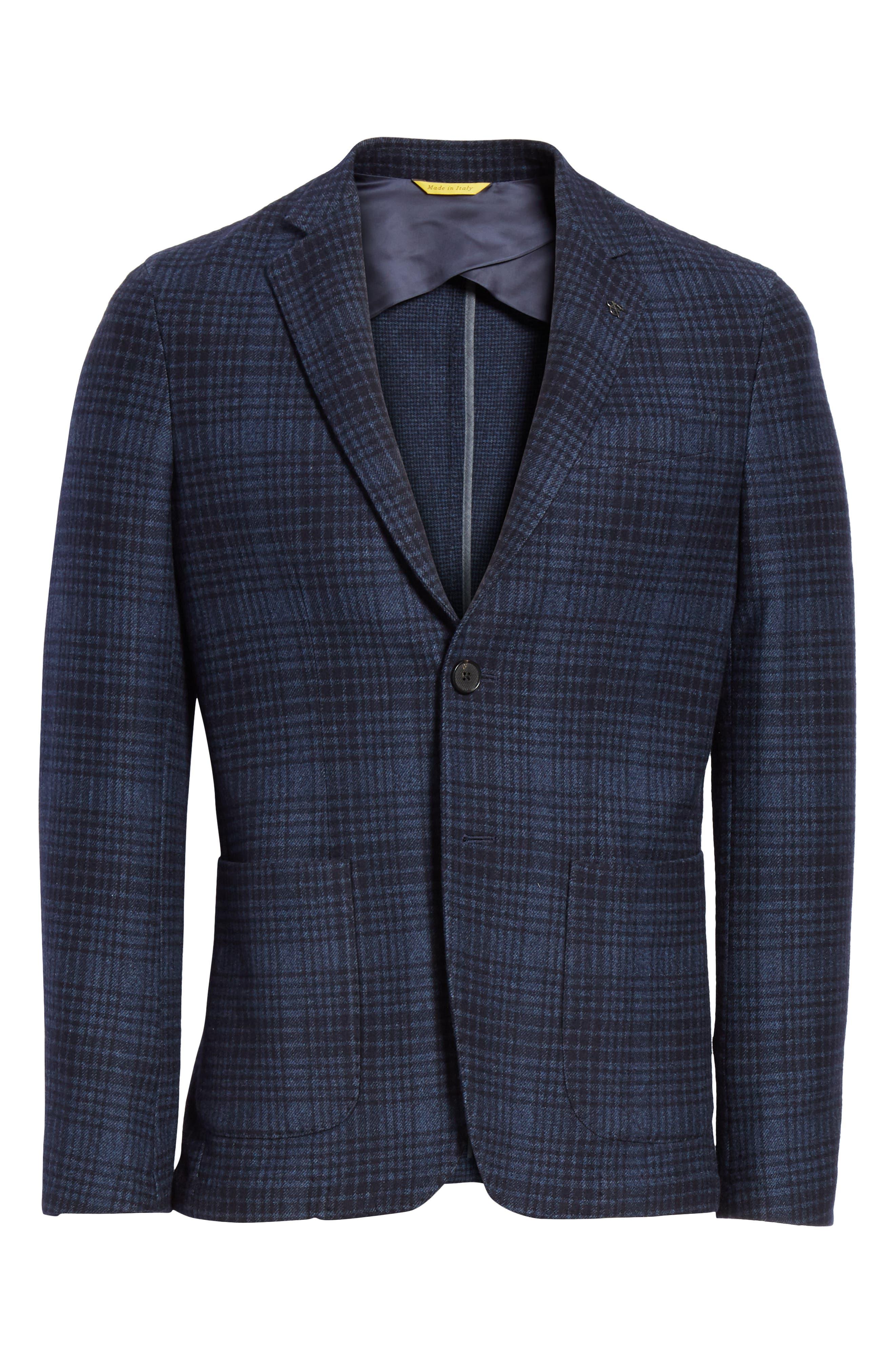 Slim Fit Plaid Wool & Cotton Sport Coat,                             Alternate thumbnail 5, color,                             400