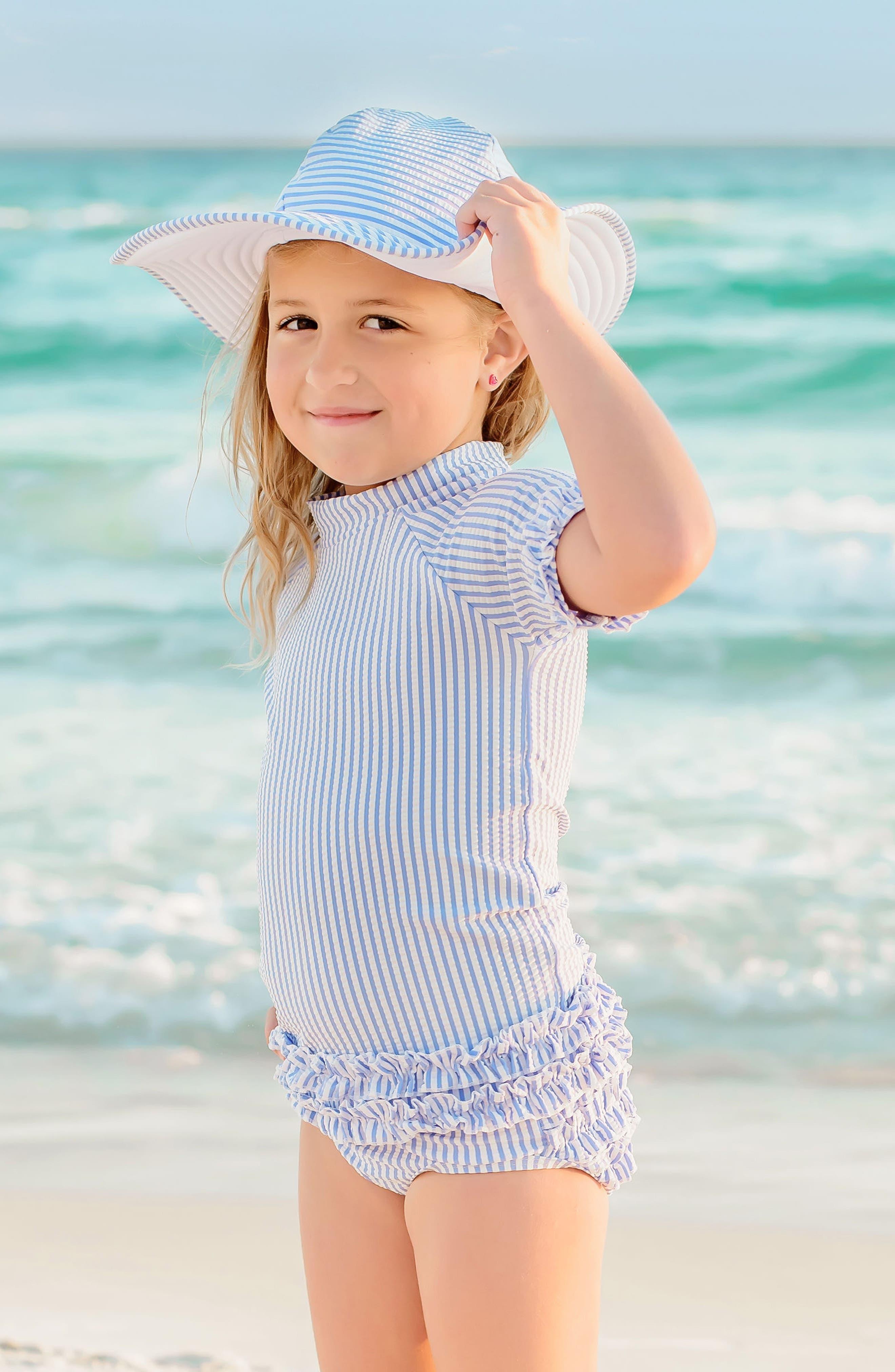 Seersucker Two-Piece Rashguard Swimsuit & Hat Set,                             Alternate thumbnail 2, color,                             BLUE
