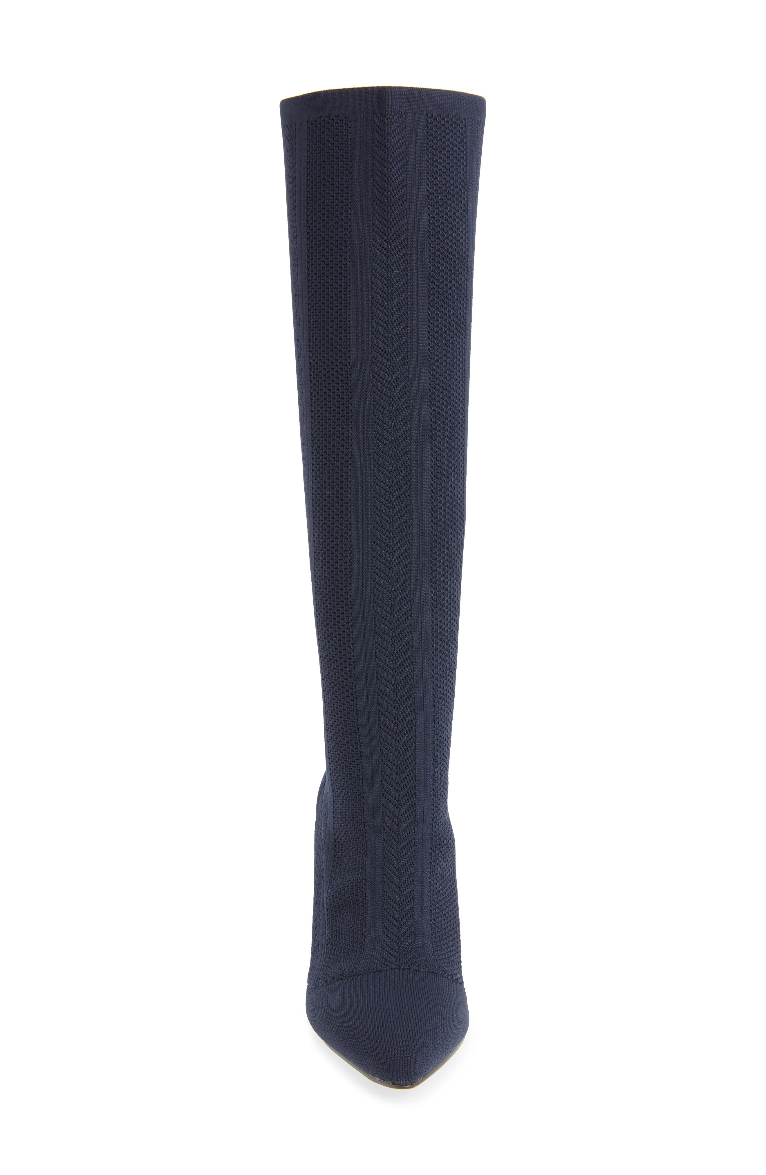 Davis Knit Boot,                             Alternate thumbnail 4, color,                             DEEP NAVY FABRIC