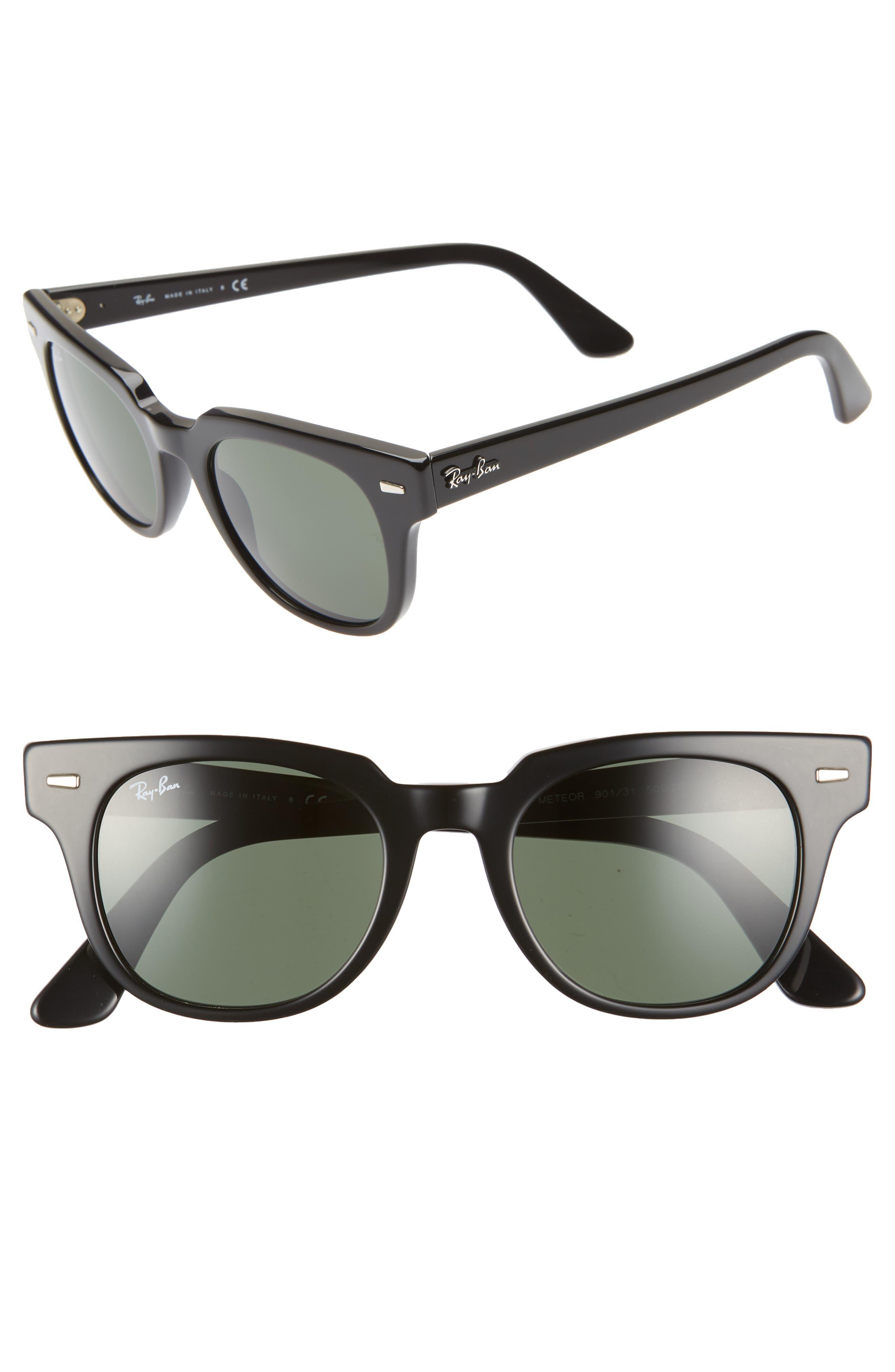 Wayfarer 50mm Square Sunglasses, Main, color, BLACK