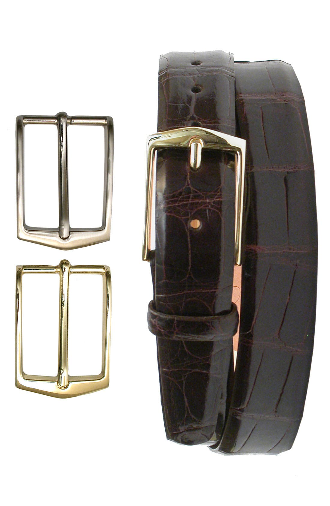 'Julian' Glazed American Alligator Leather Belt with Interchangeable Buckles,                             Main thumbnail 2, color,