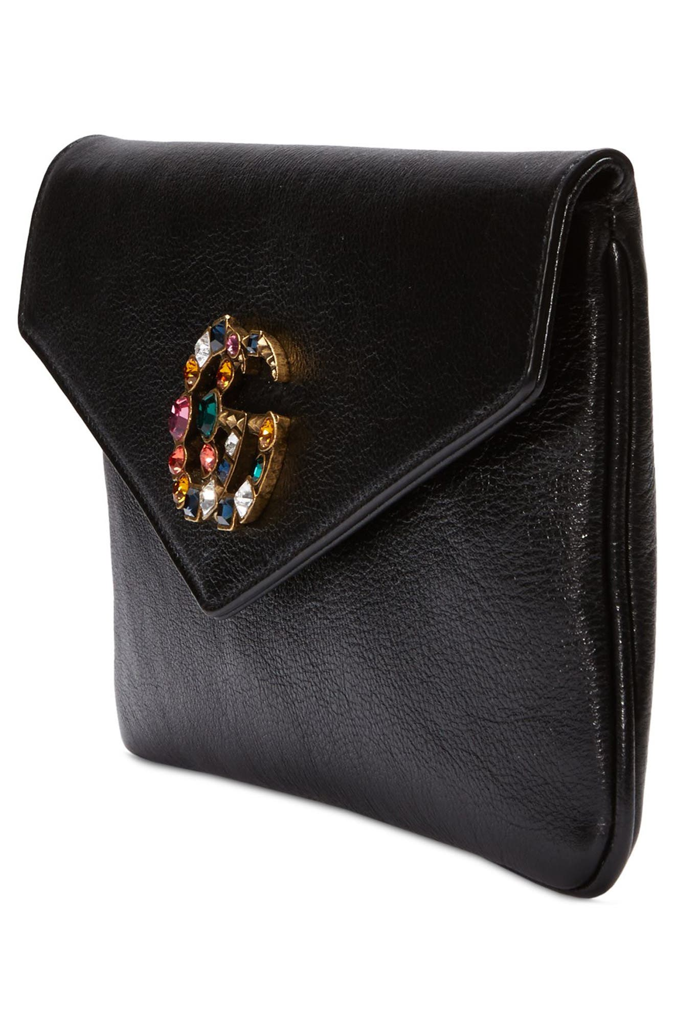 Broadway Crystal GG Leather Envelope Clutch,                             Alternate thumbnail 4, color,                             001