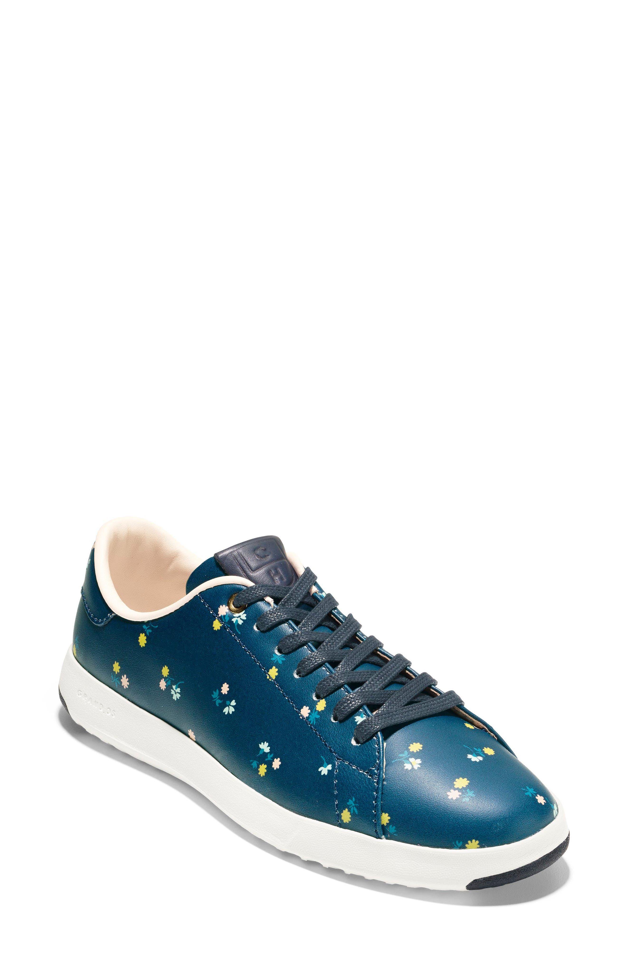 GrandPro Tennis Shoe,                         Main,                         color, NAVY FLORAL LEATHER